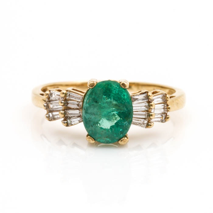 14K Yellow Gold 1.31 CT Emerald and Diamond Ring