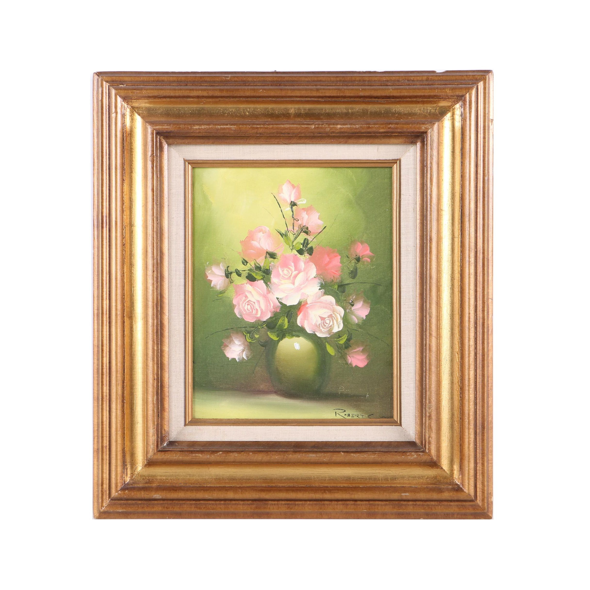 Robert Cox Oil Painting on Canvas Board of Still Life with Pink Roses
