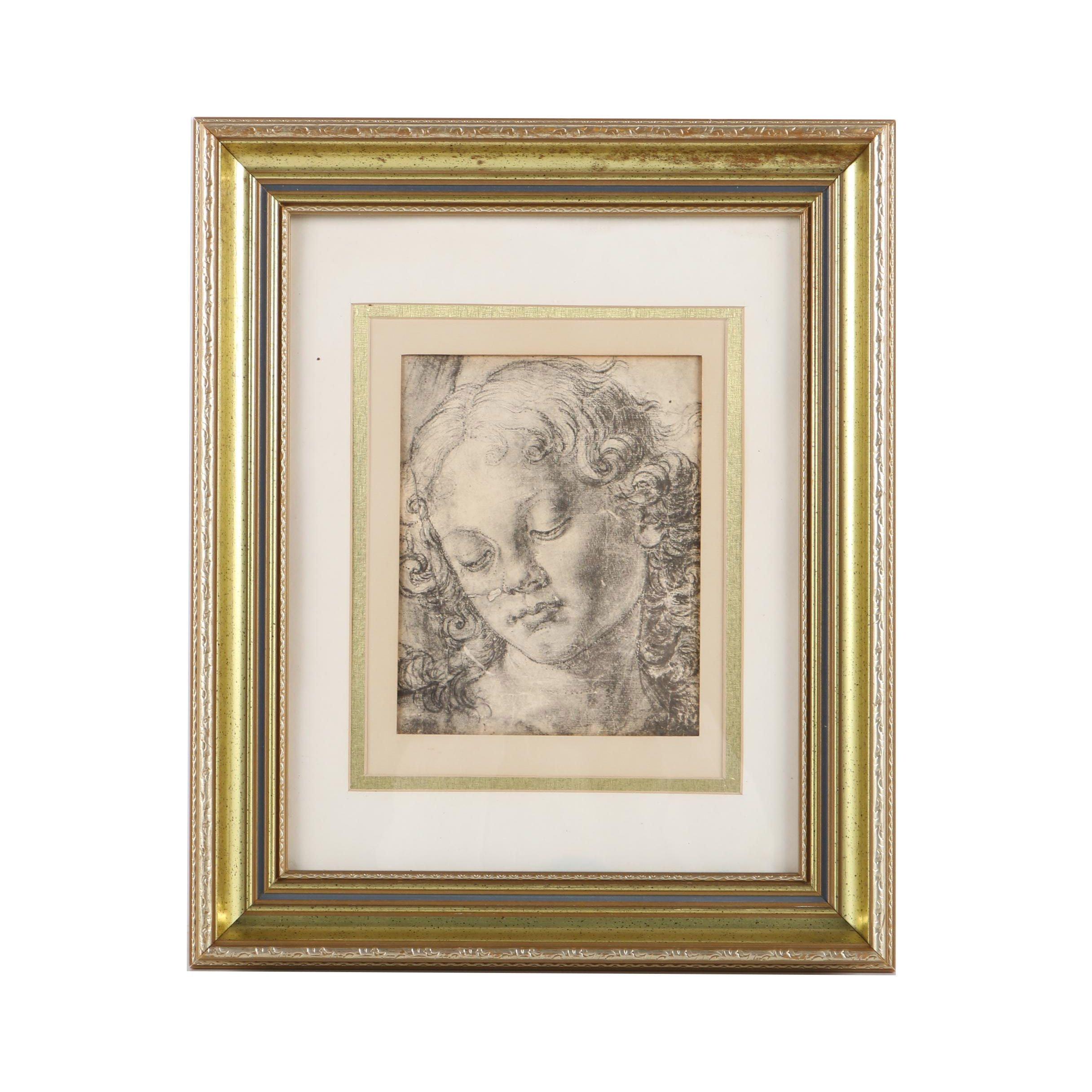 "Halftone Print on Paper After Andrea del Verrocchio ""Head of a Woman"""