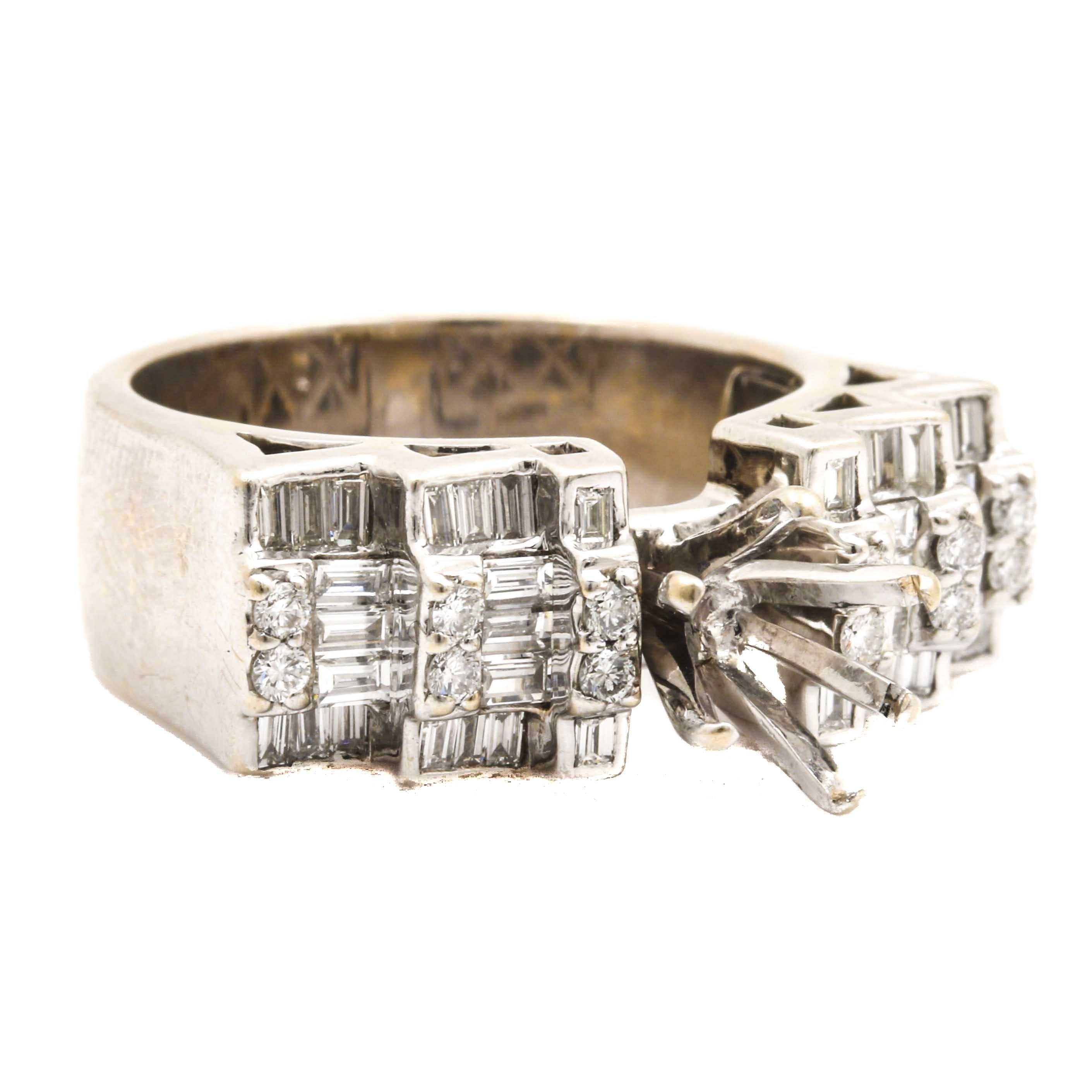 18K White Gold 0.98 CTW Diamond Semi Mount Ring