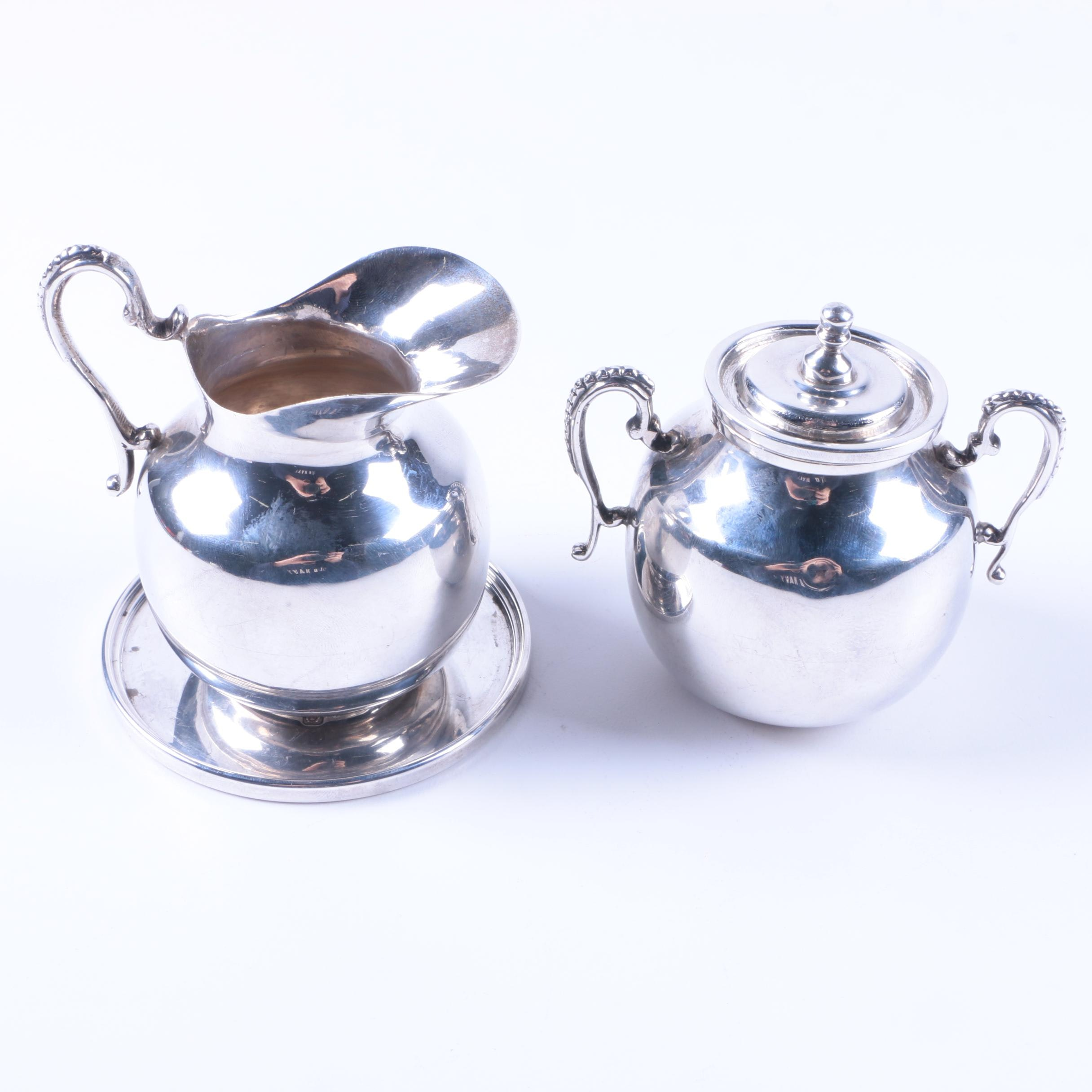 1988 Asprey & Co. Sterling Coaster with Mexican Sterling Creamer and Sugar Bowl