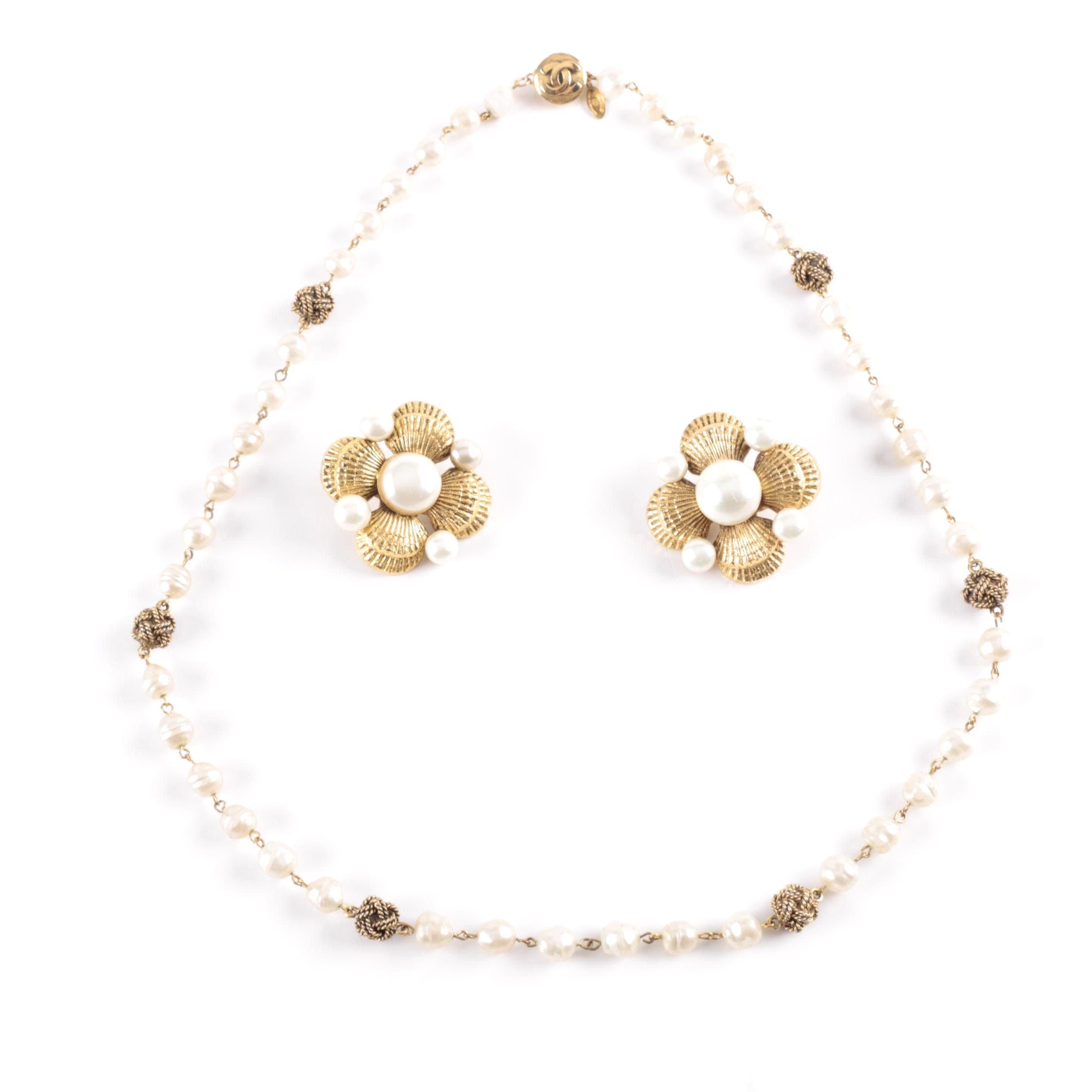 Chanel Gold Tone Pearl Demi Parure