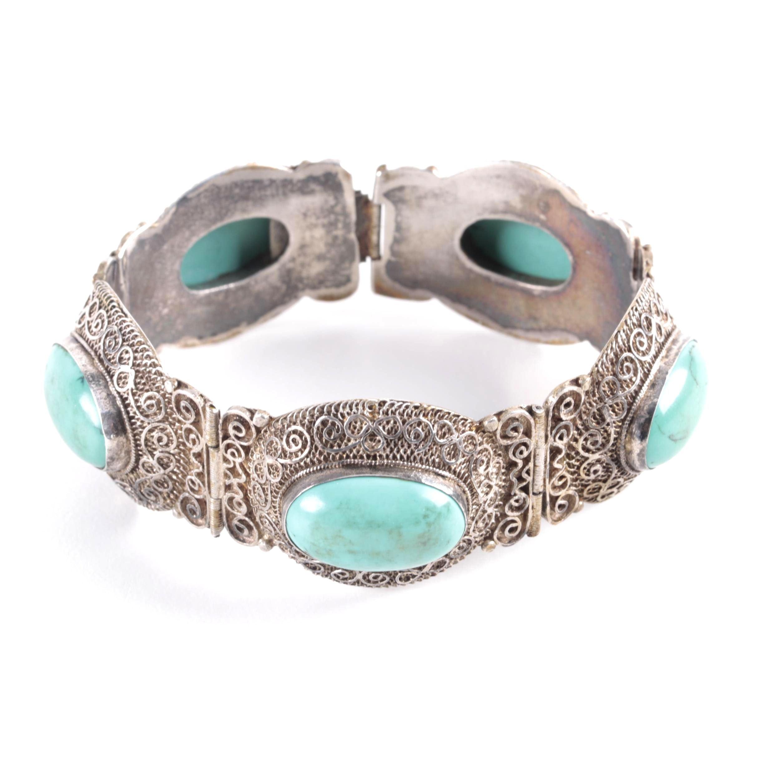 Vintage Sterling Silver and Howlite Hinged Filigree Bracelet