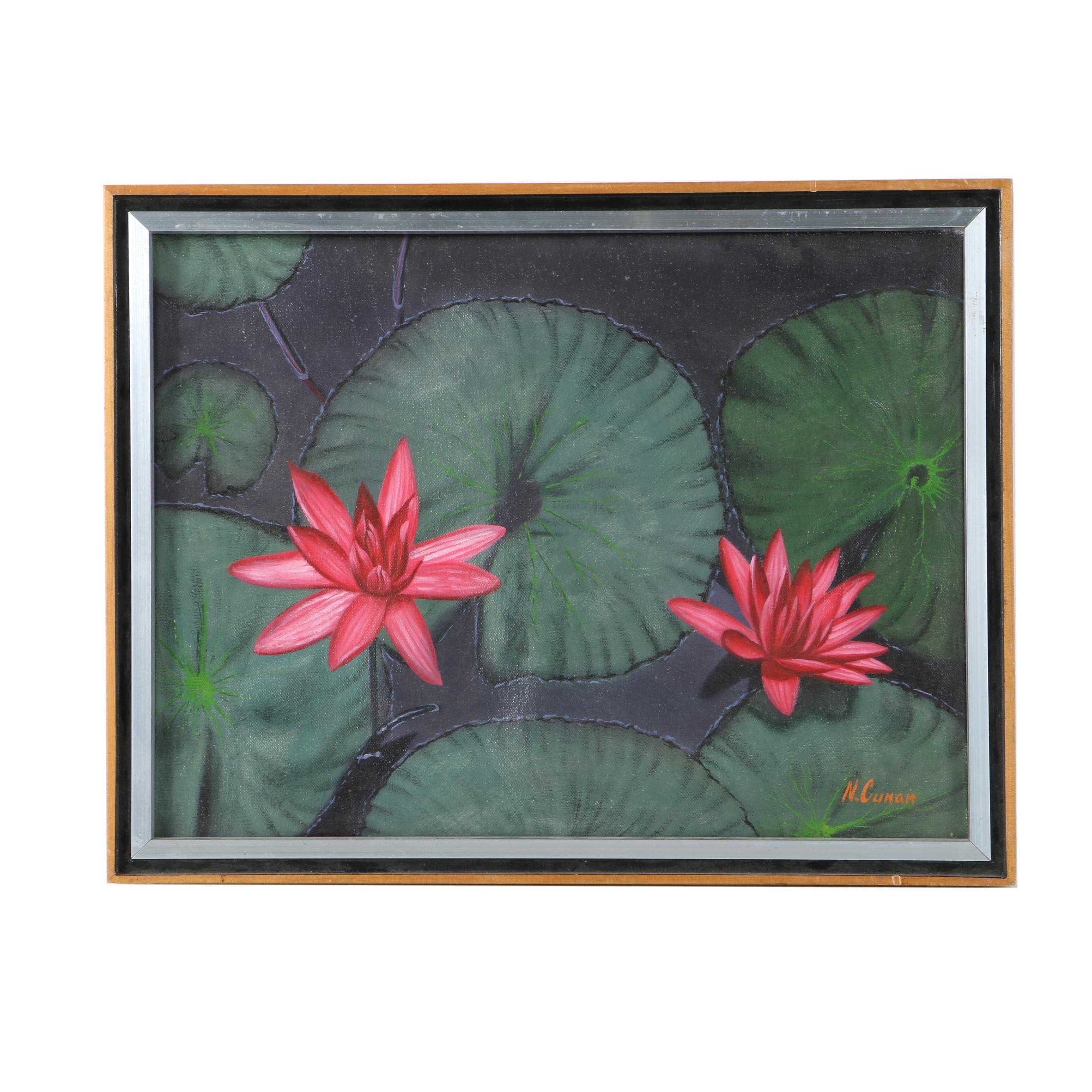 N. Cunan Oil Painting on Canvas of Waterlilies