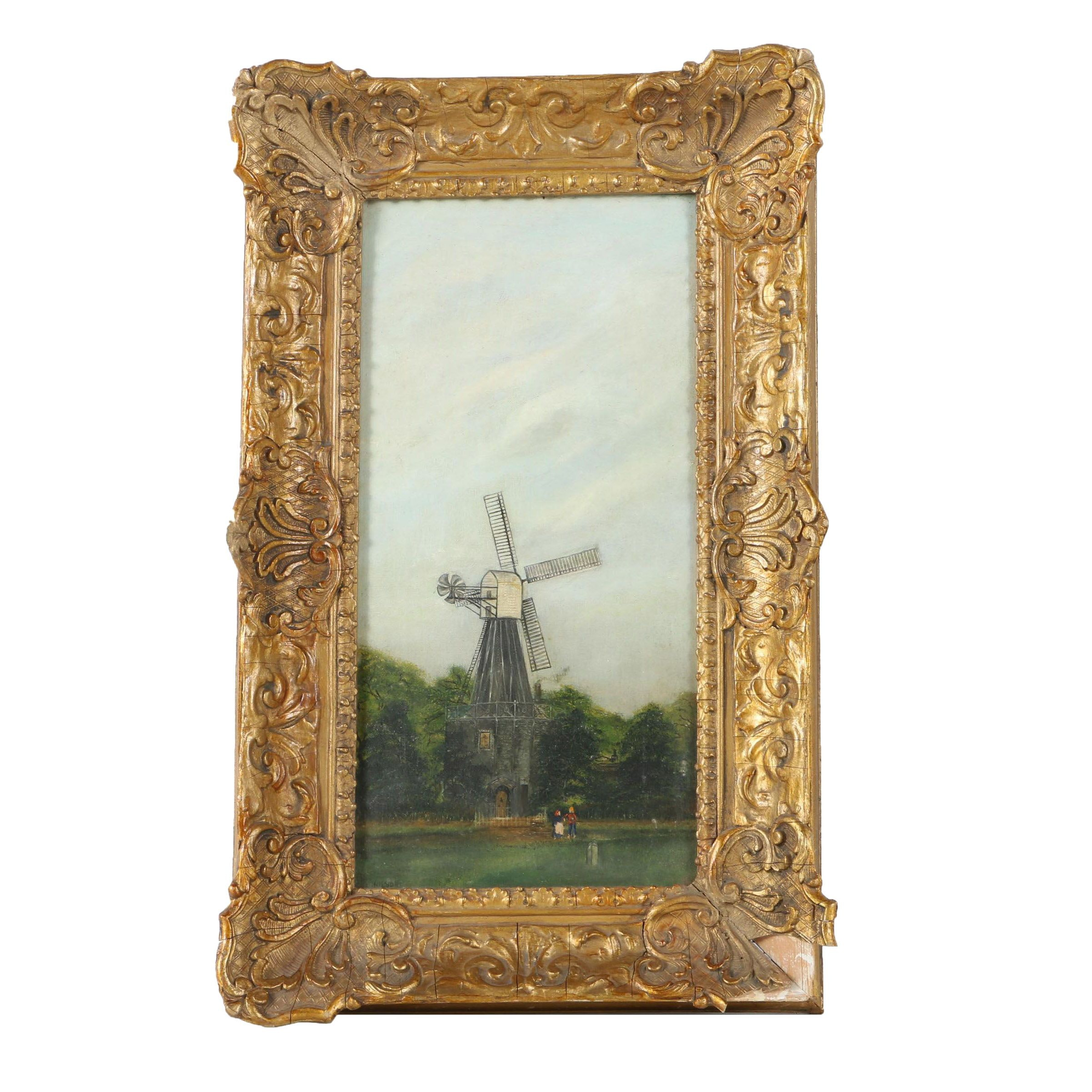 Oil Painting on Canvas Attributed to George Washington Nicholson of a Windmill