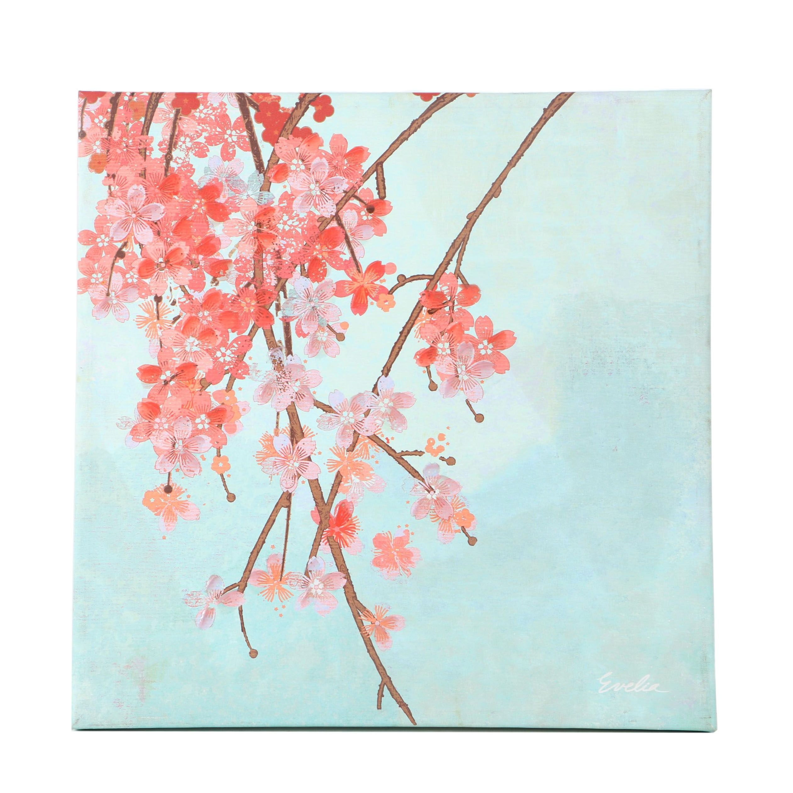 Evelia Embellished Giclee on Canvas of Cherry Blossoms