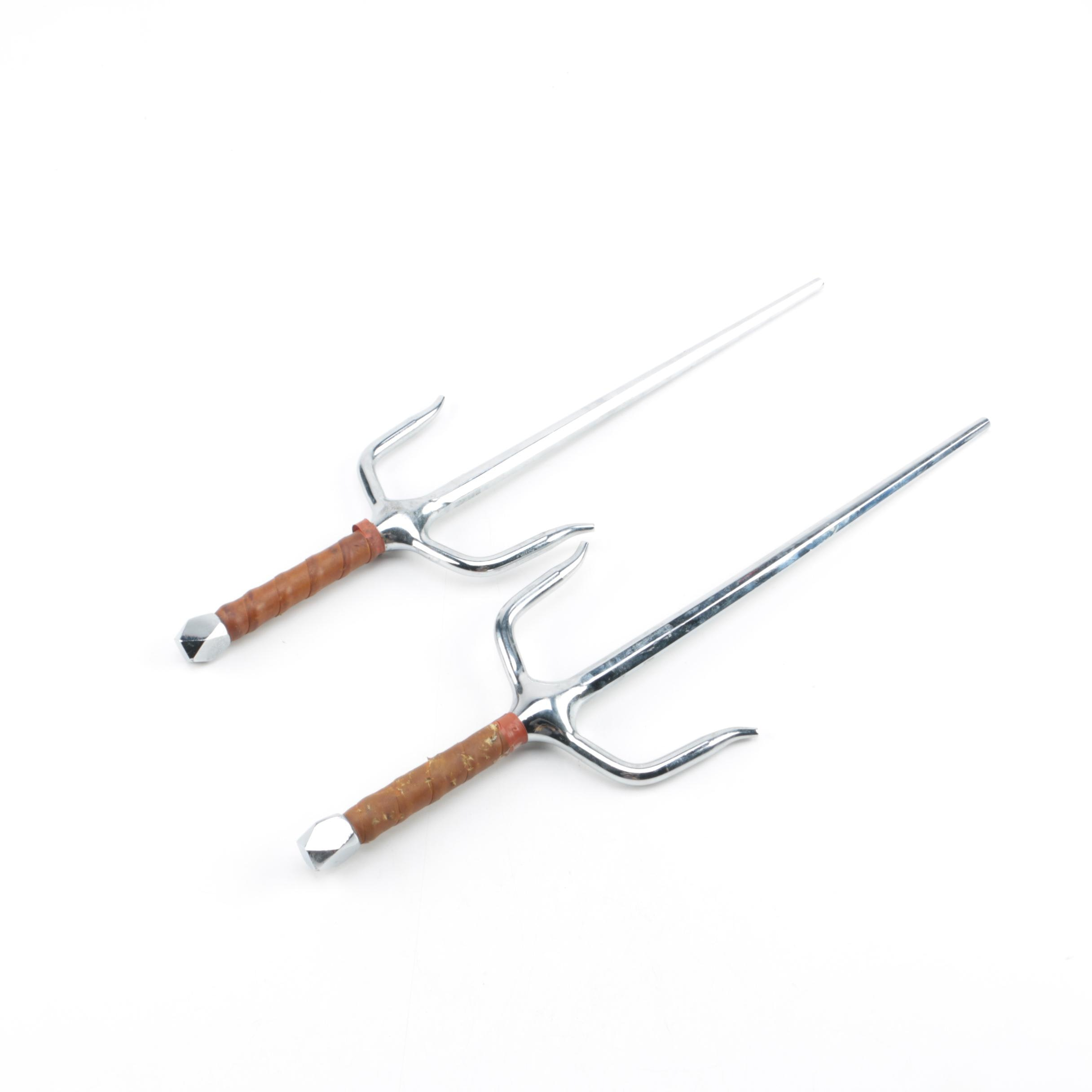 Leather Wrapped Handle Sai Pair