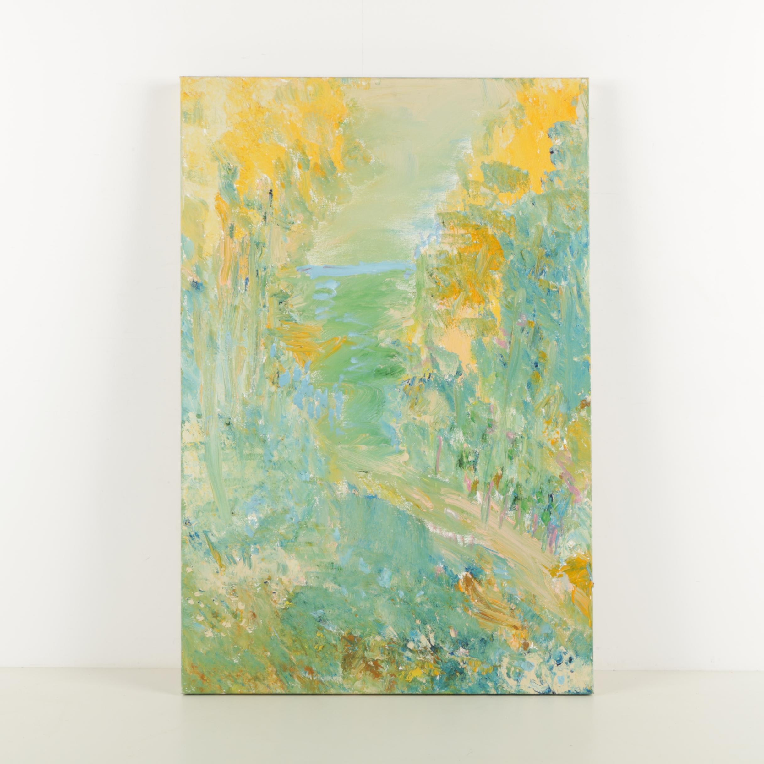 """Esther Pearlman Abstract Acrylic Painting """"Background of Fall Trees"""""""