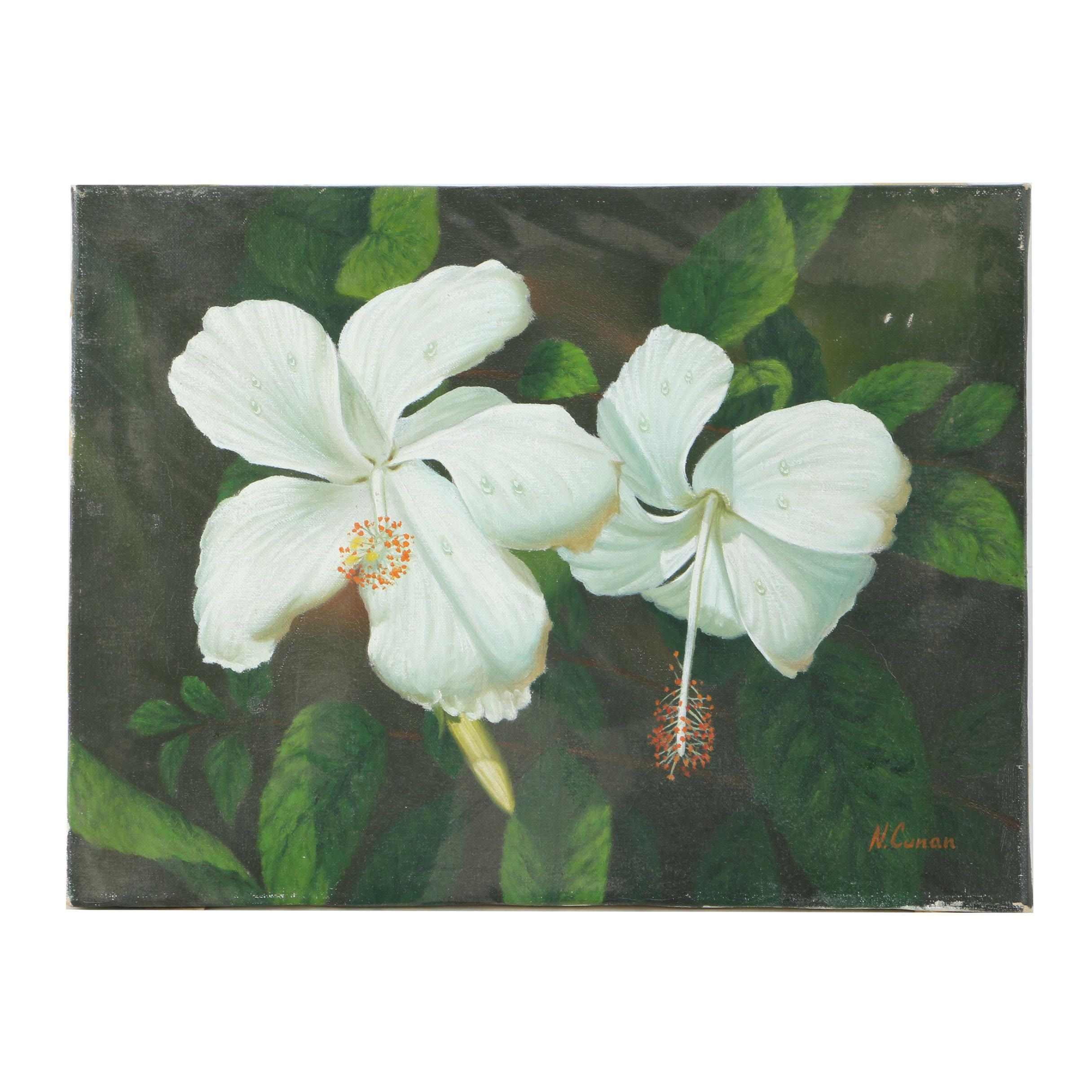 N. Cunan Oil Painting on Canvas of Hibiscus Flowers