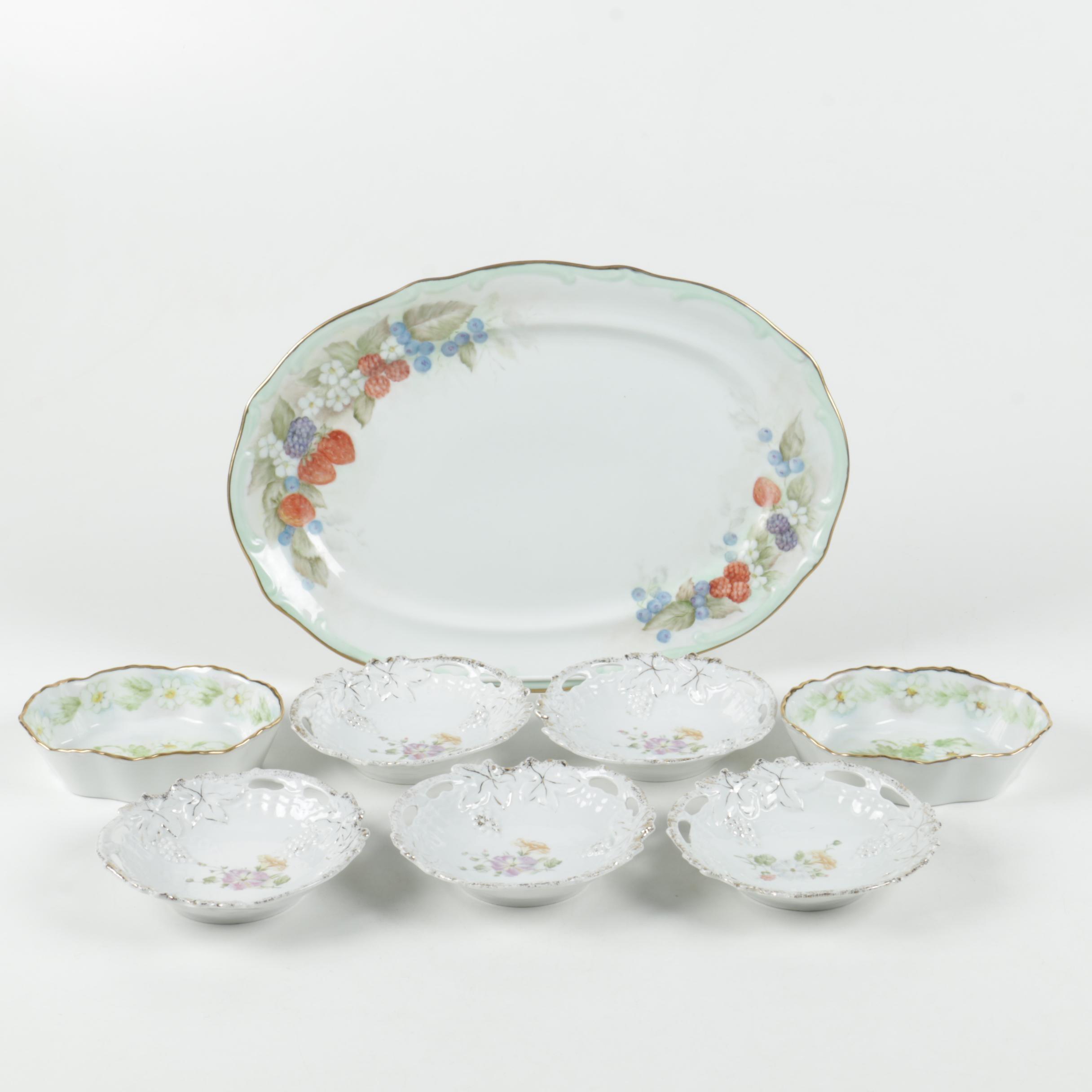 Vintage Hand Painted Porcelain Serveware Including Vohenstrauss