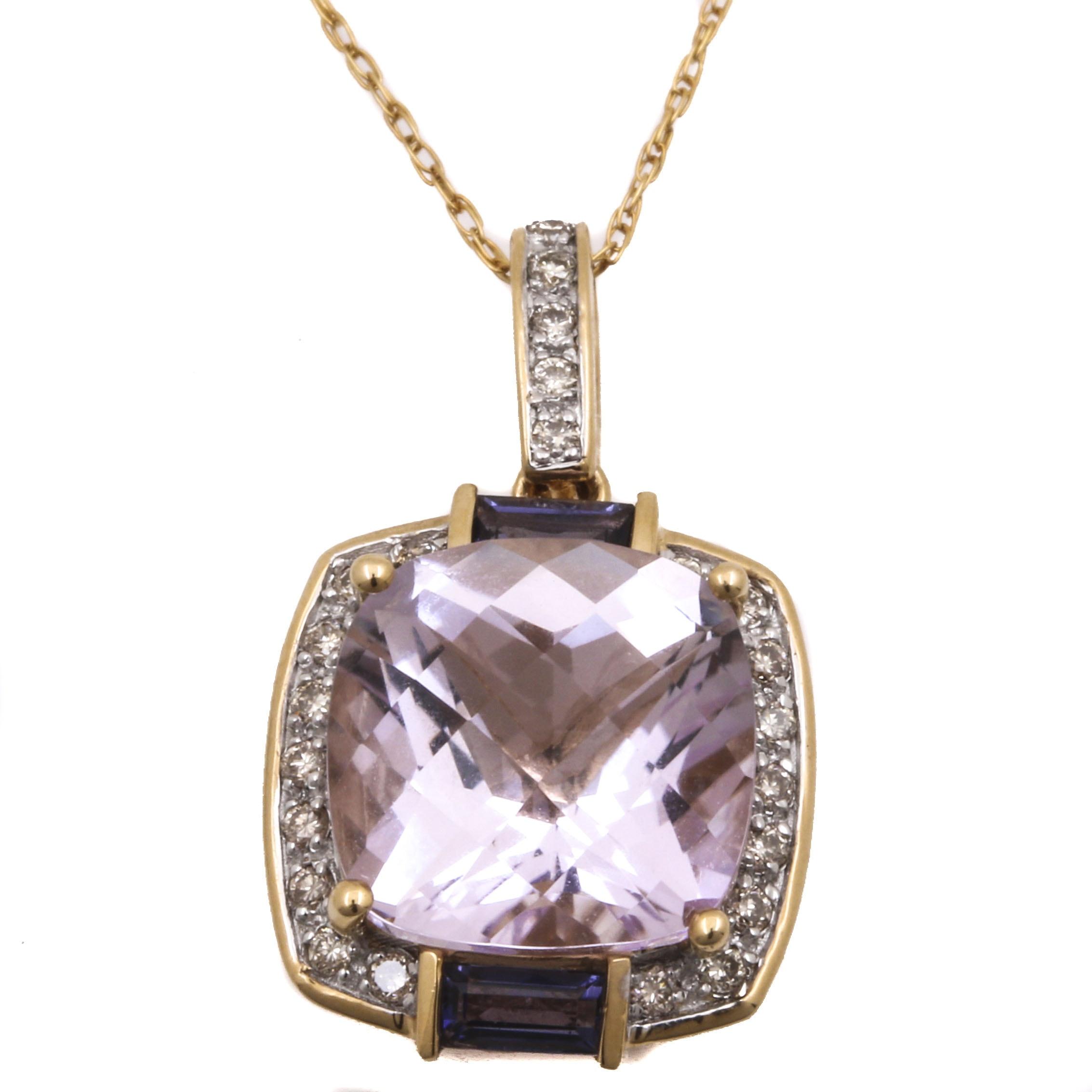 14K Yellow Gold Gemstone and Diamond Pendant Necklace