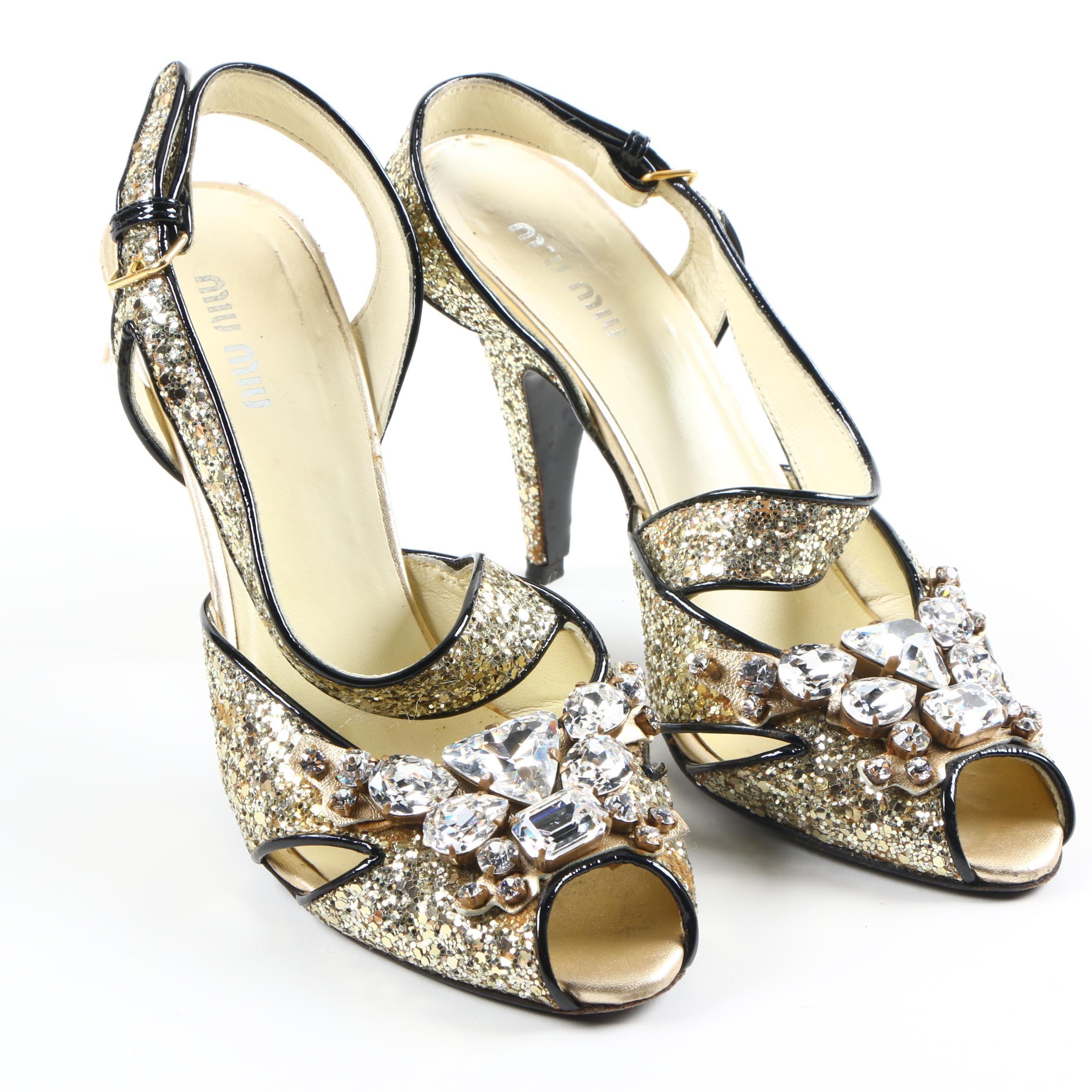 Miu Miu Embellished Glitter Peep Toe Heels