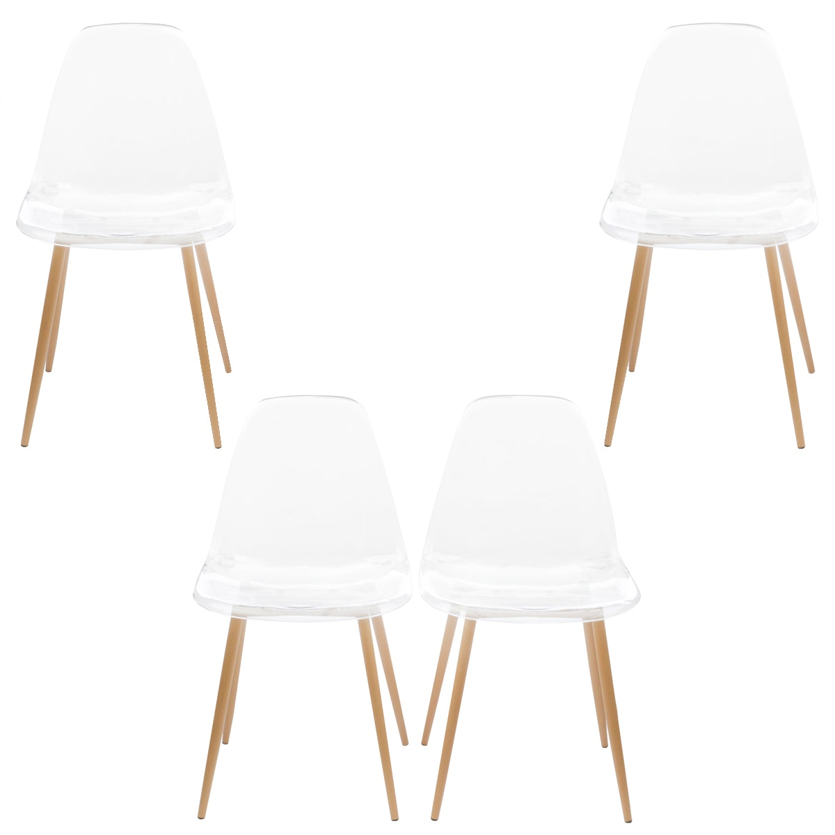 Set of Four Eames Style Dining Chairs