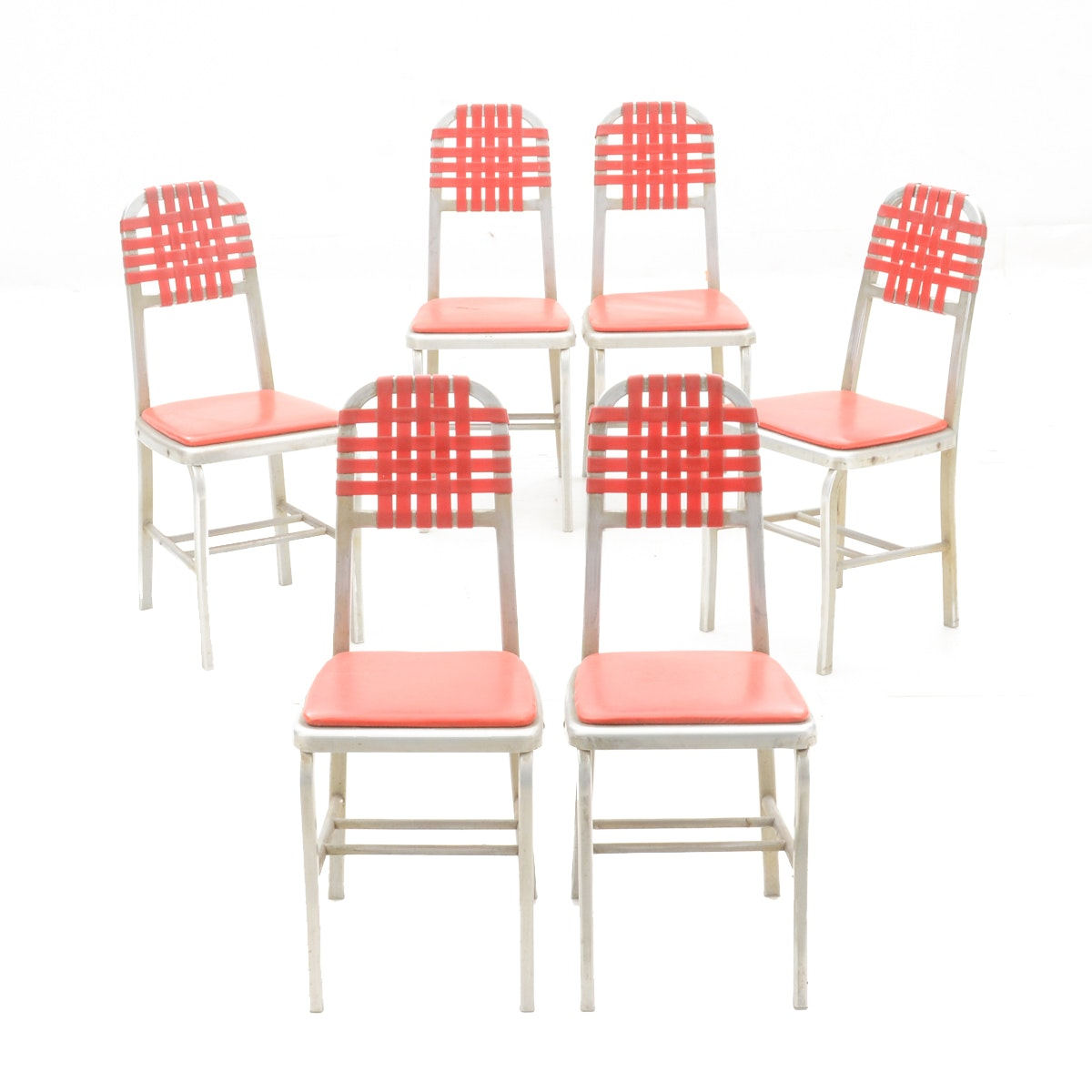 Set of Aluminum and Red Vinyl Chairs