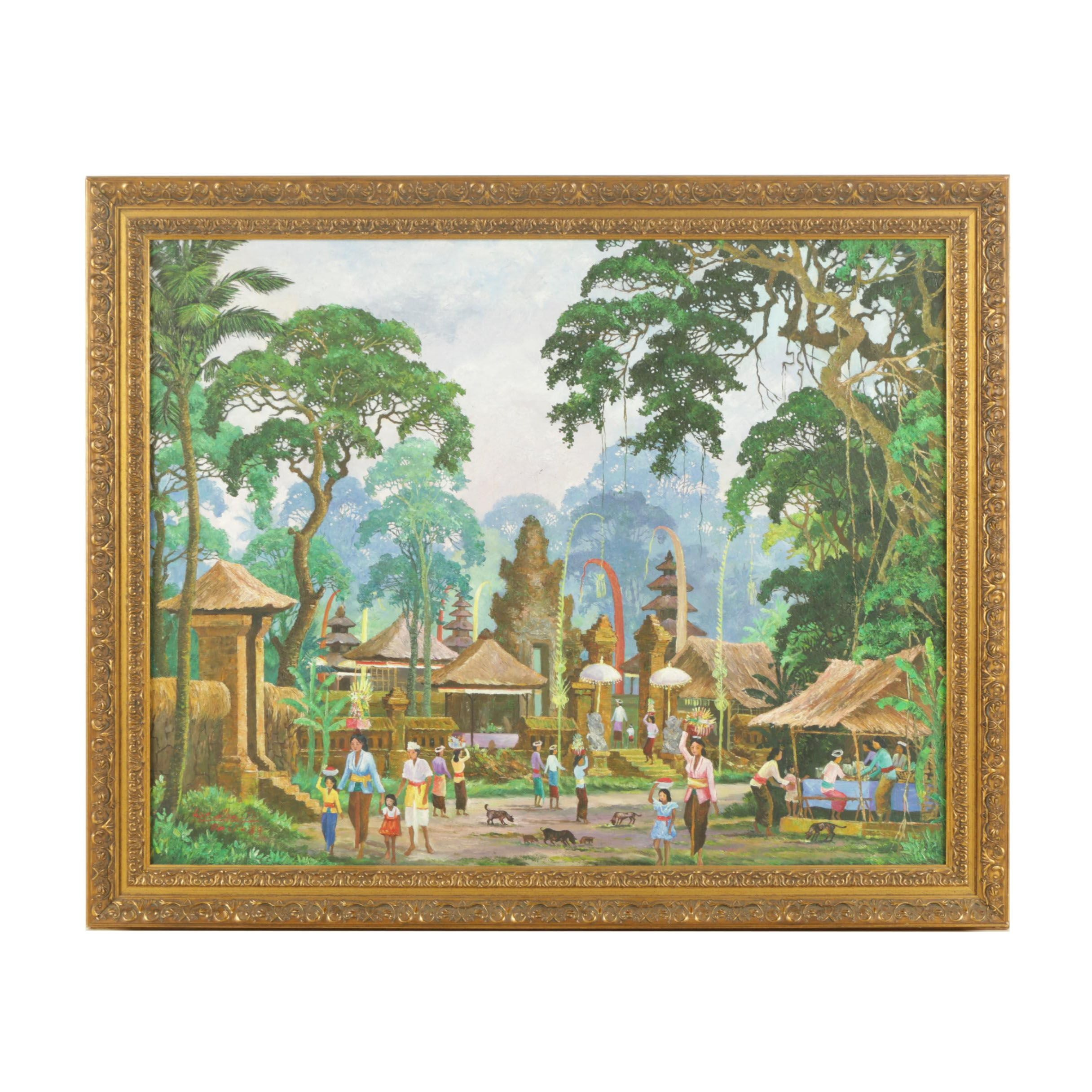Oil Painting on Canvas of Southeast Asian Style Village Scene