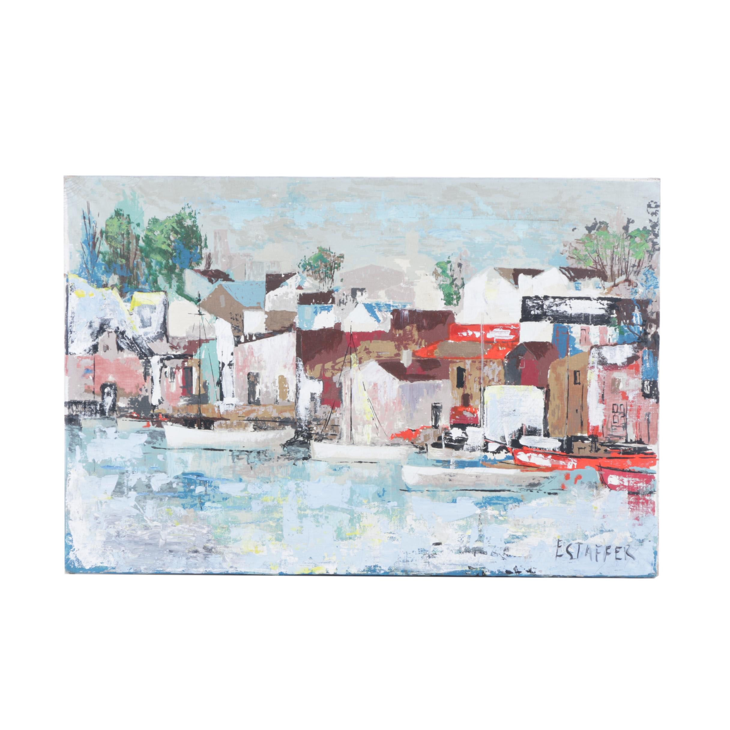 Estaffer Oil Painting on Canvas of Abstract Town Scene