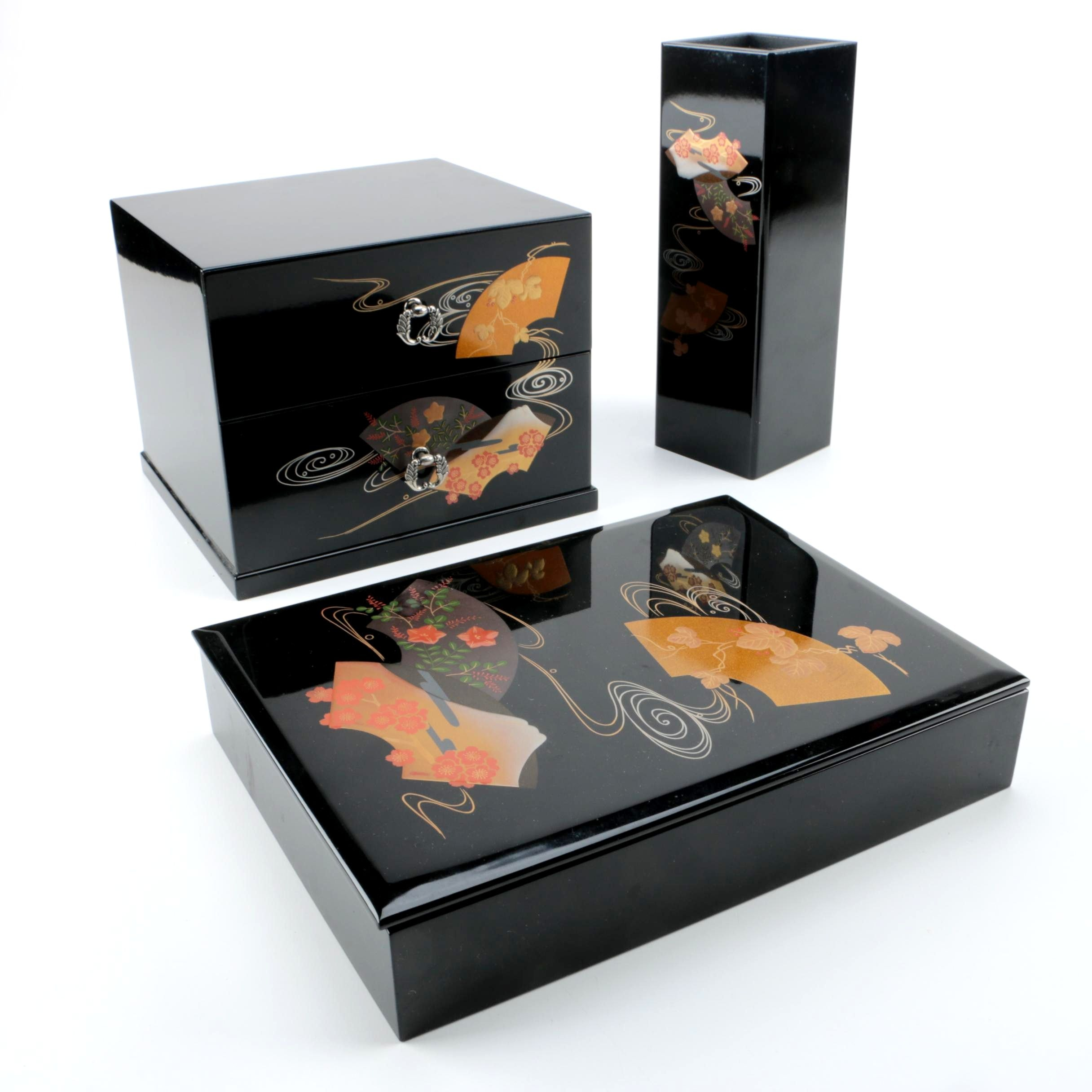 East Asian Inspired Black Lacquer Decor