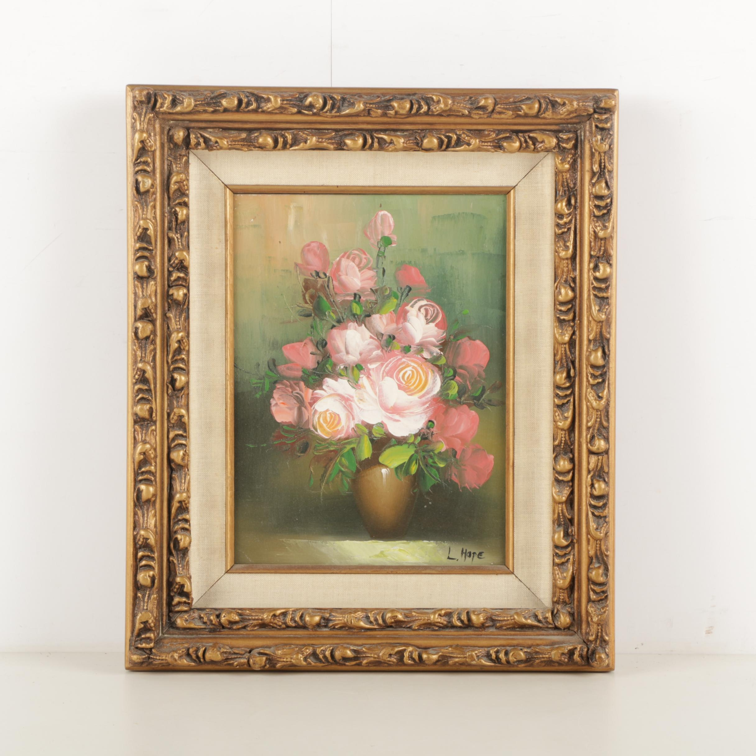 Laurence Hope Oil Painting on Canvas of Pink Roses