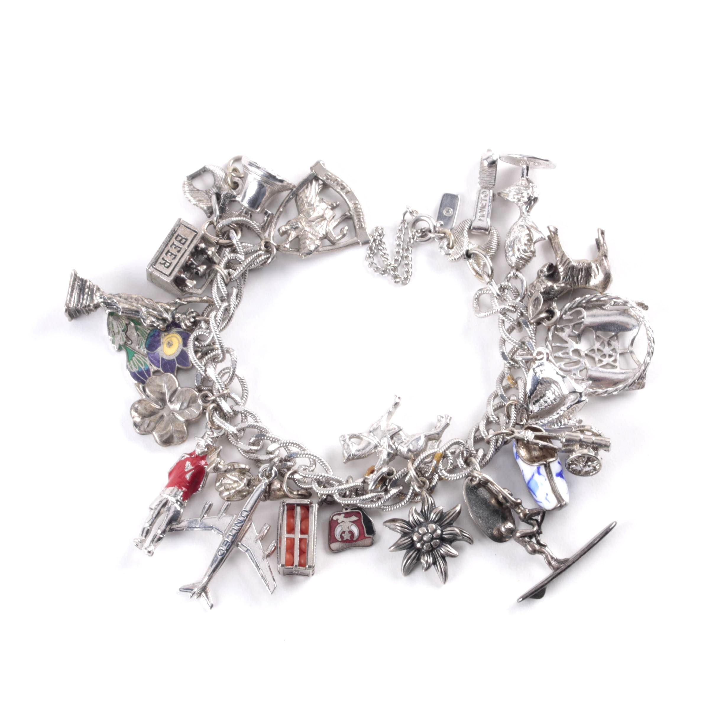 Vintage Monet Charm Bracelet with Sterling Silver Charms
