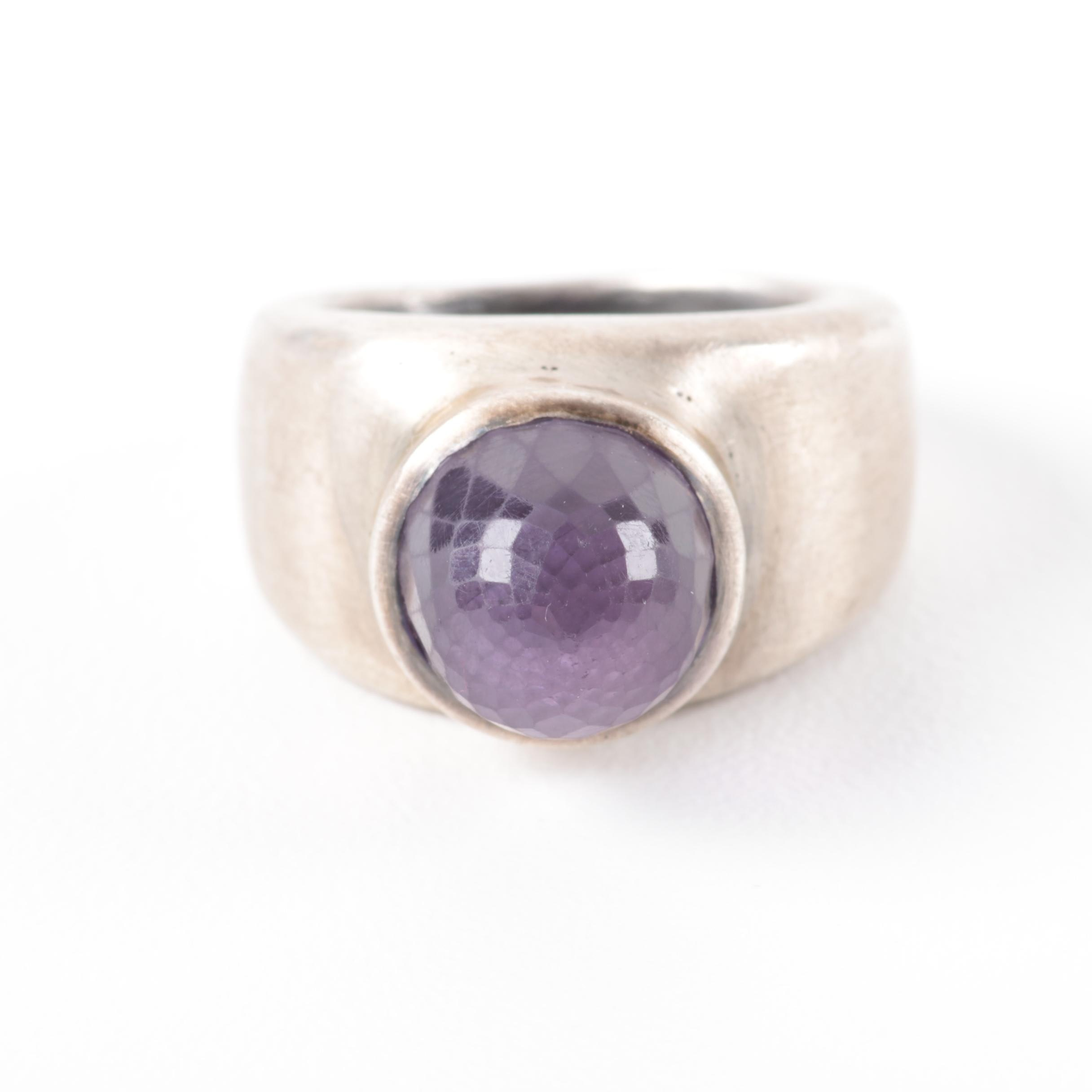 Retro Sterling Silver and Faceted Purple Glass Ring