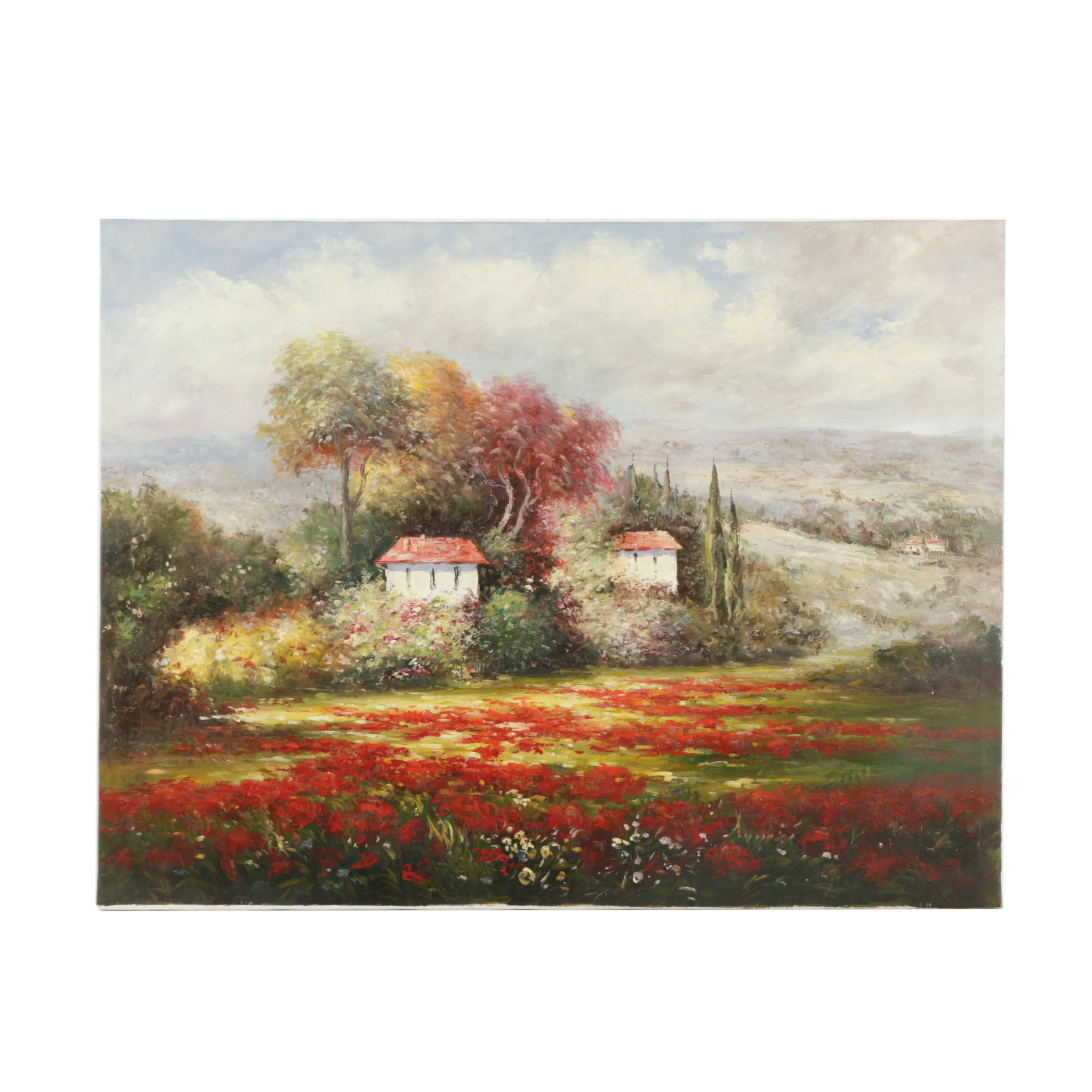 Oil Painting on Canvas of Idyllic Landscape