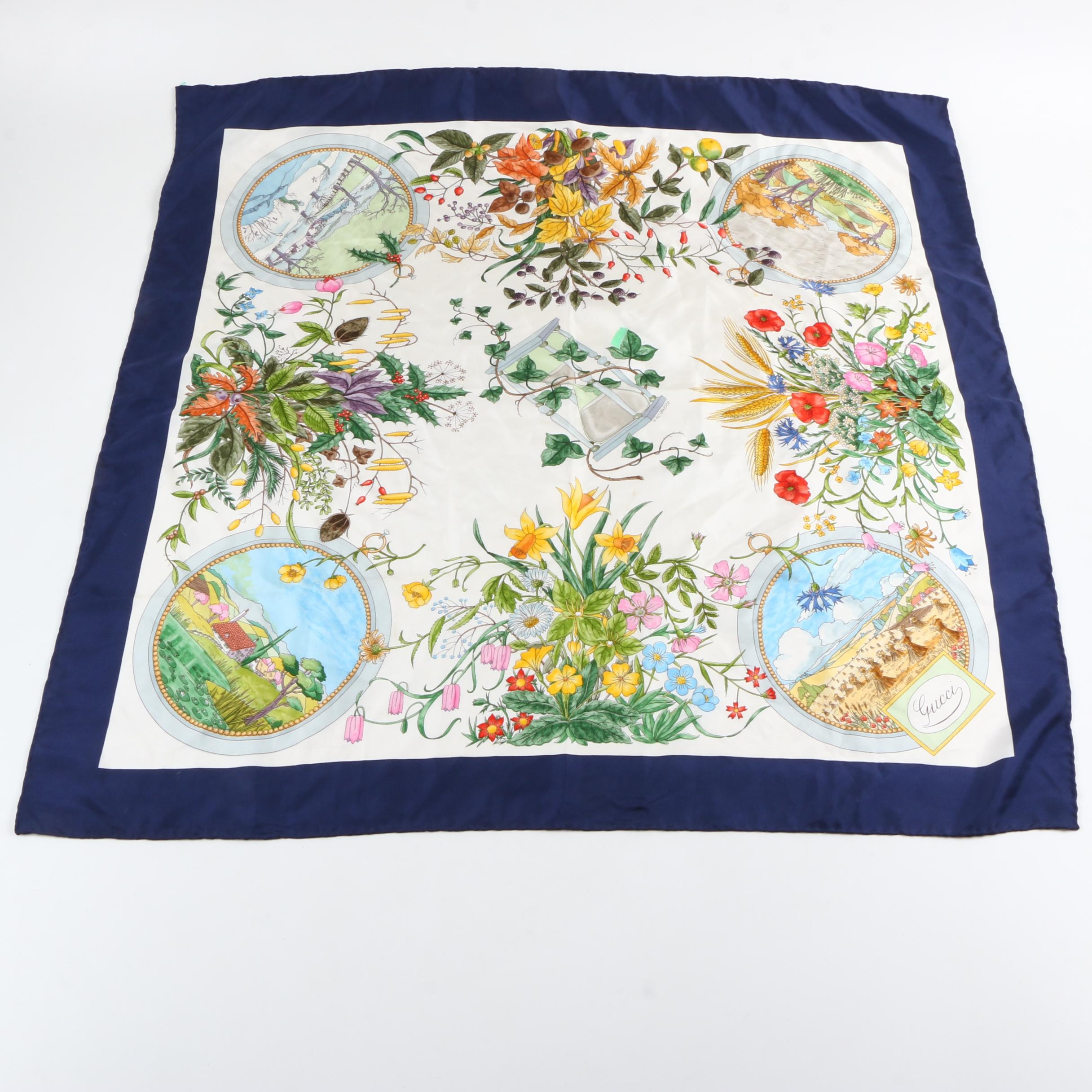 Gucci Blue and White Floral Silk Scarf