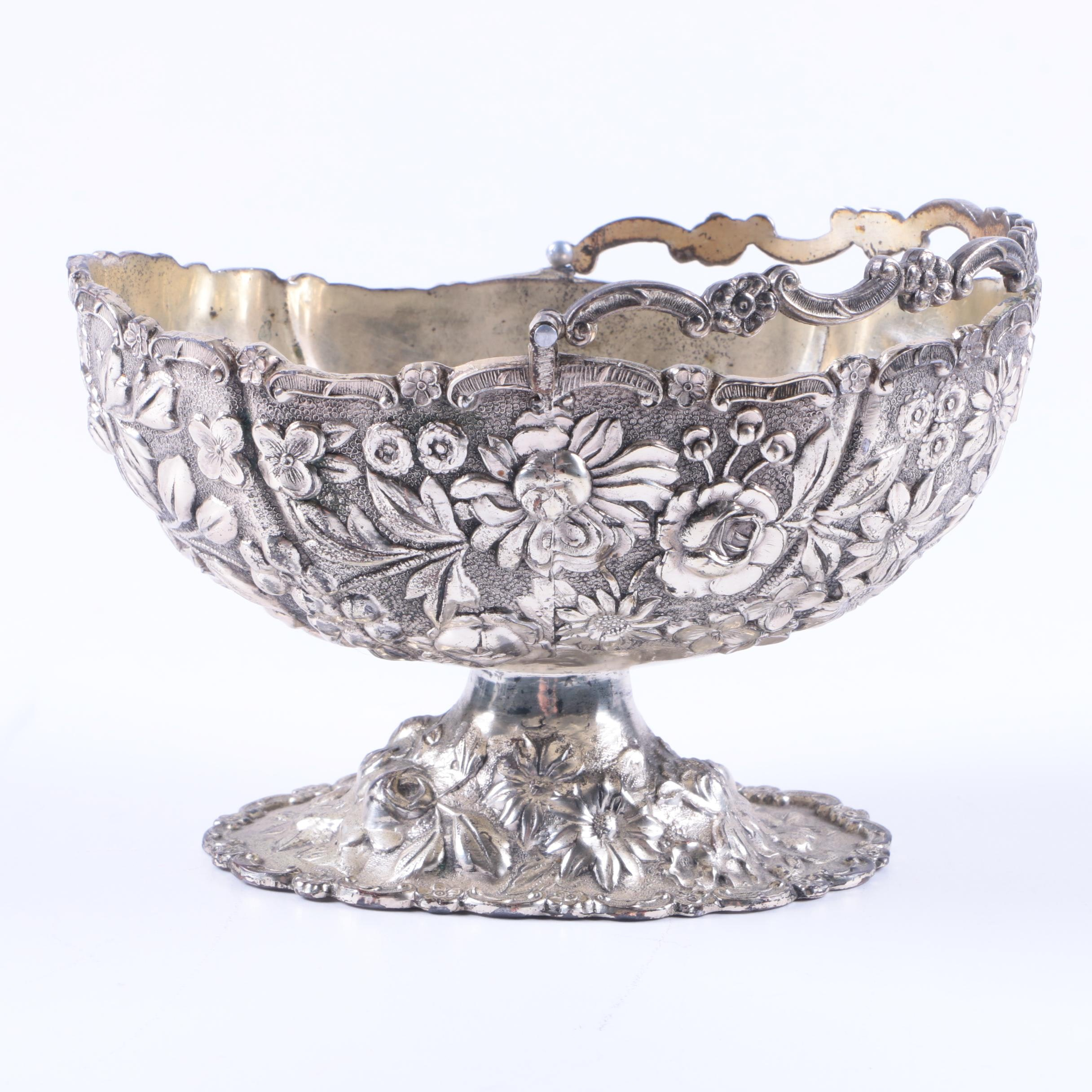 Japanese Chased and Repoussé Silver Plate Basket