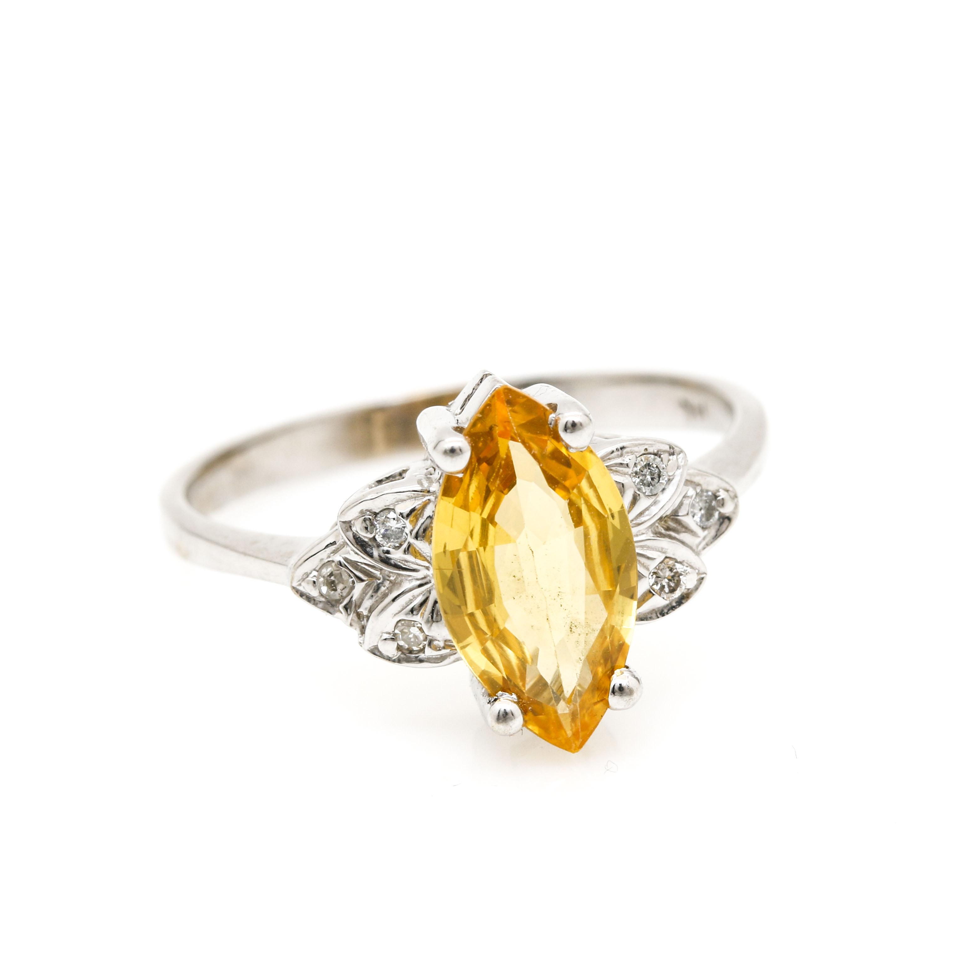 14K White Gold 2.12 CT Yellow Sapphire and Diamond Ring