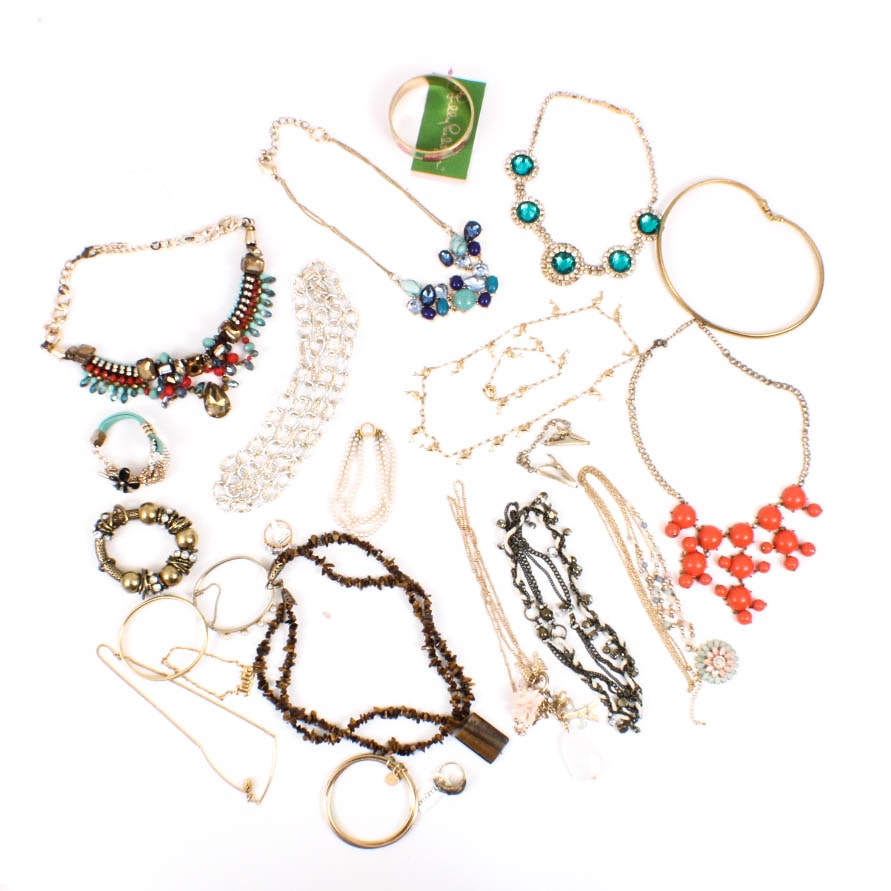 Henri Bendel , Suzy Levian, Lilly Pulitzer and More Gold Tone Costume Jewelry