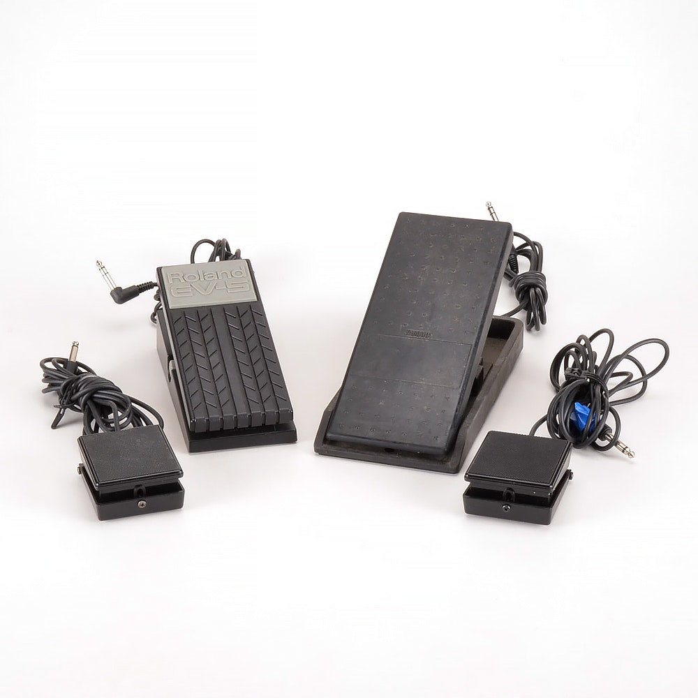 Assortment of Expression Pedals, Including Yamaha and Roland