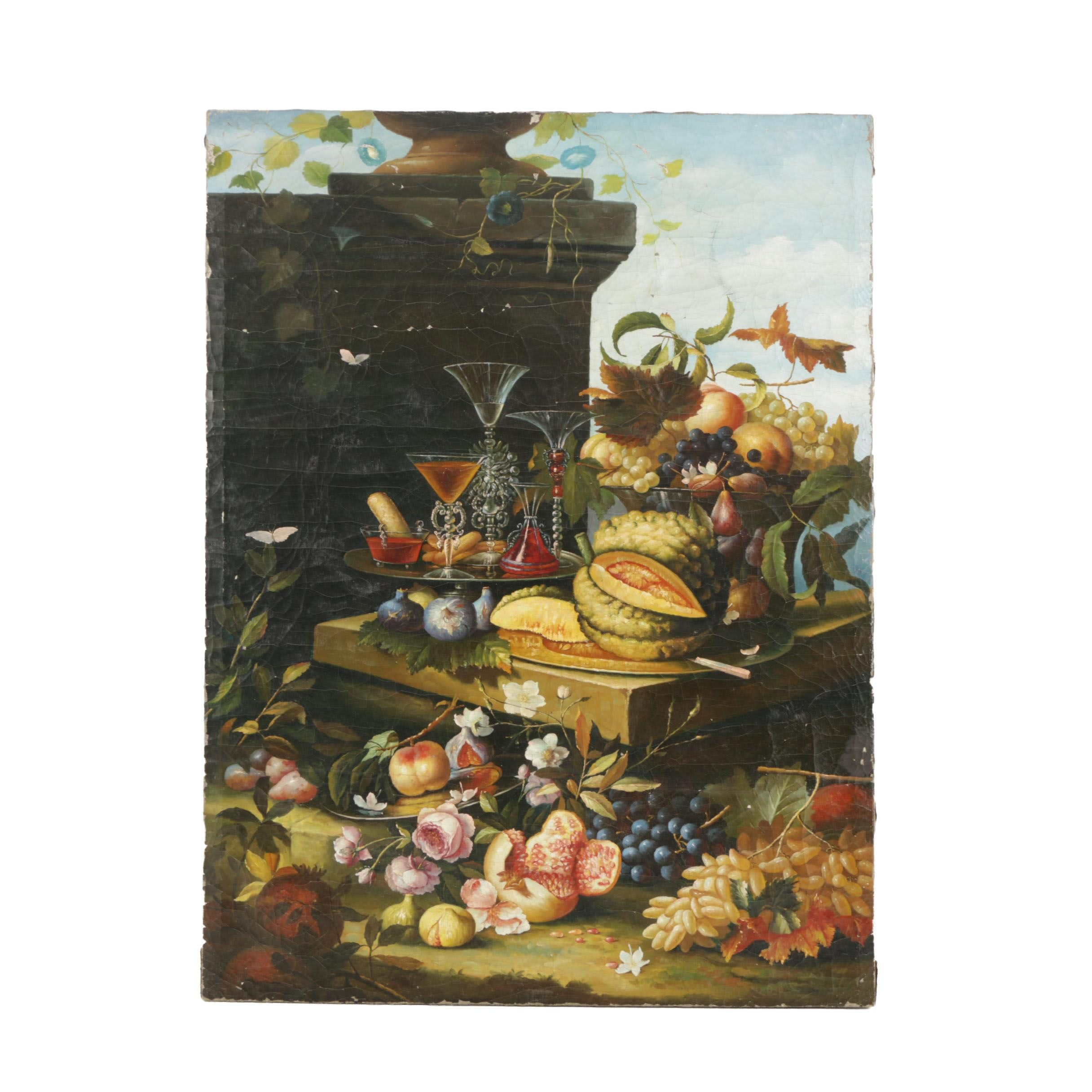 Copy Oil Painting on Canvas After Christian Berentz Still Life
