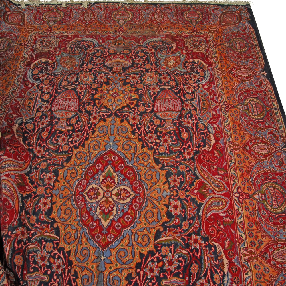 Large Semi-Antique Hand-Knotted Persian Vase Area Rug