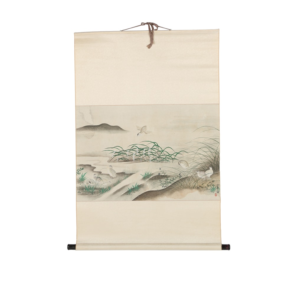 East Asian Gouache and Watercolor Painting on Hanging Scroll
