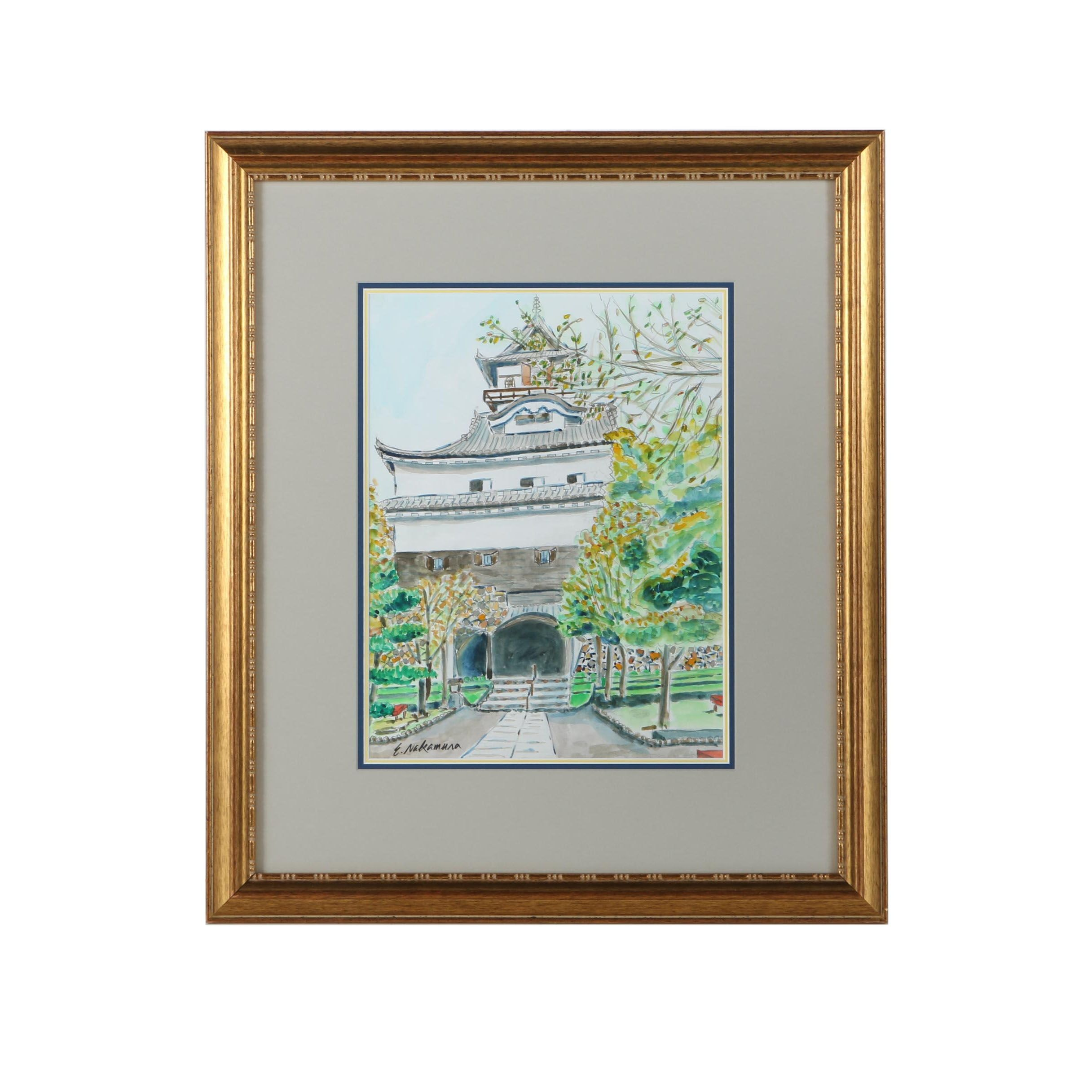 """Eiichi Nakamura Watercolor and Marker Painting on Paper """"Inuyama Castle"""""""