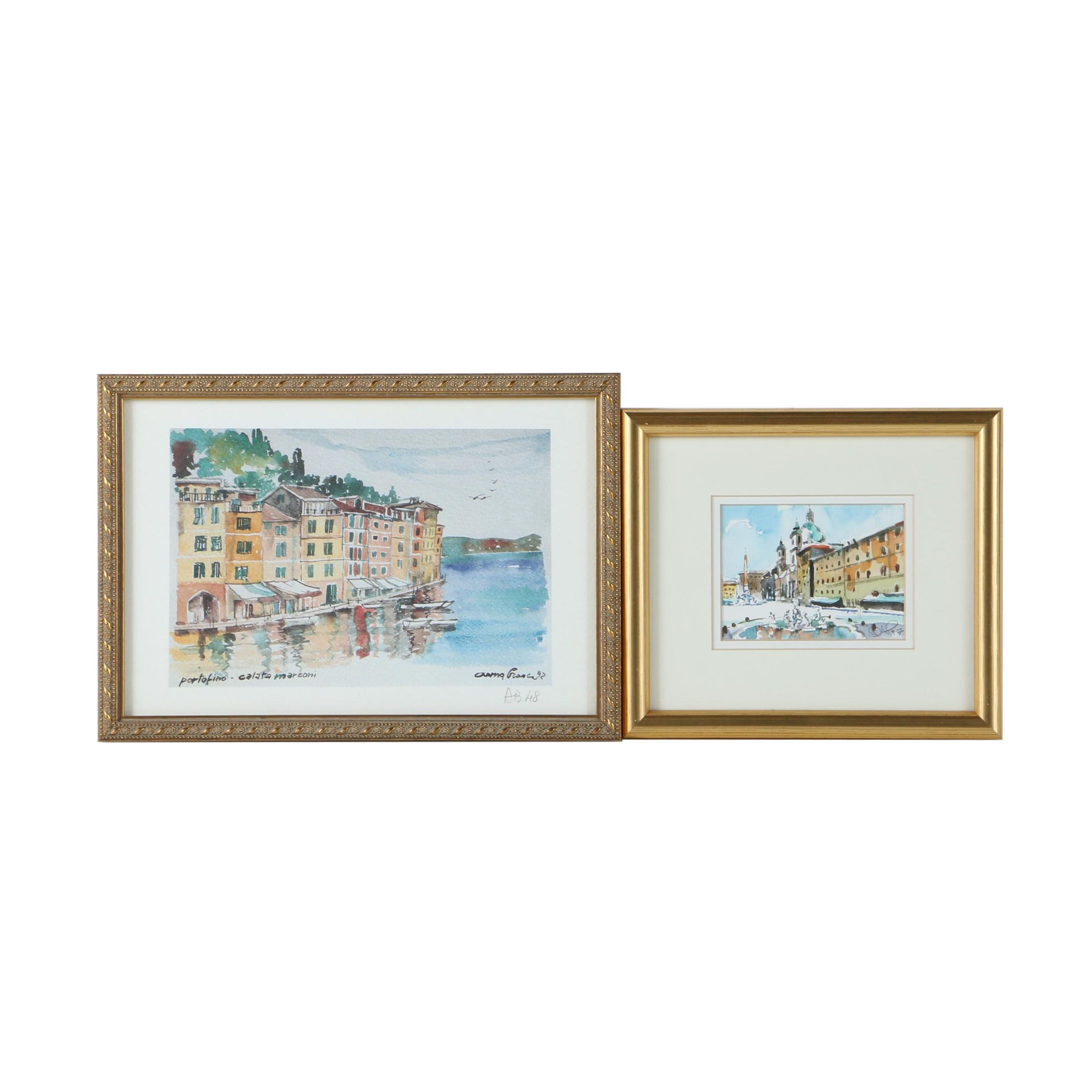 McDermott Watercolor Painting on Paper and Offset Lithograph on Paper