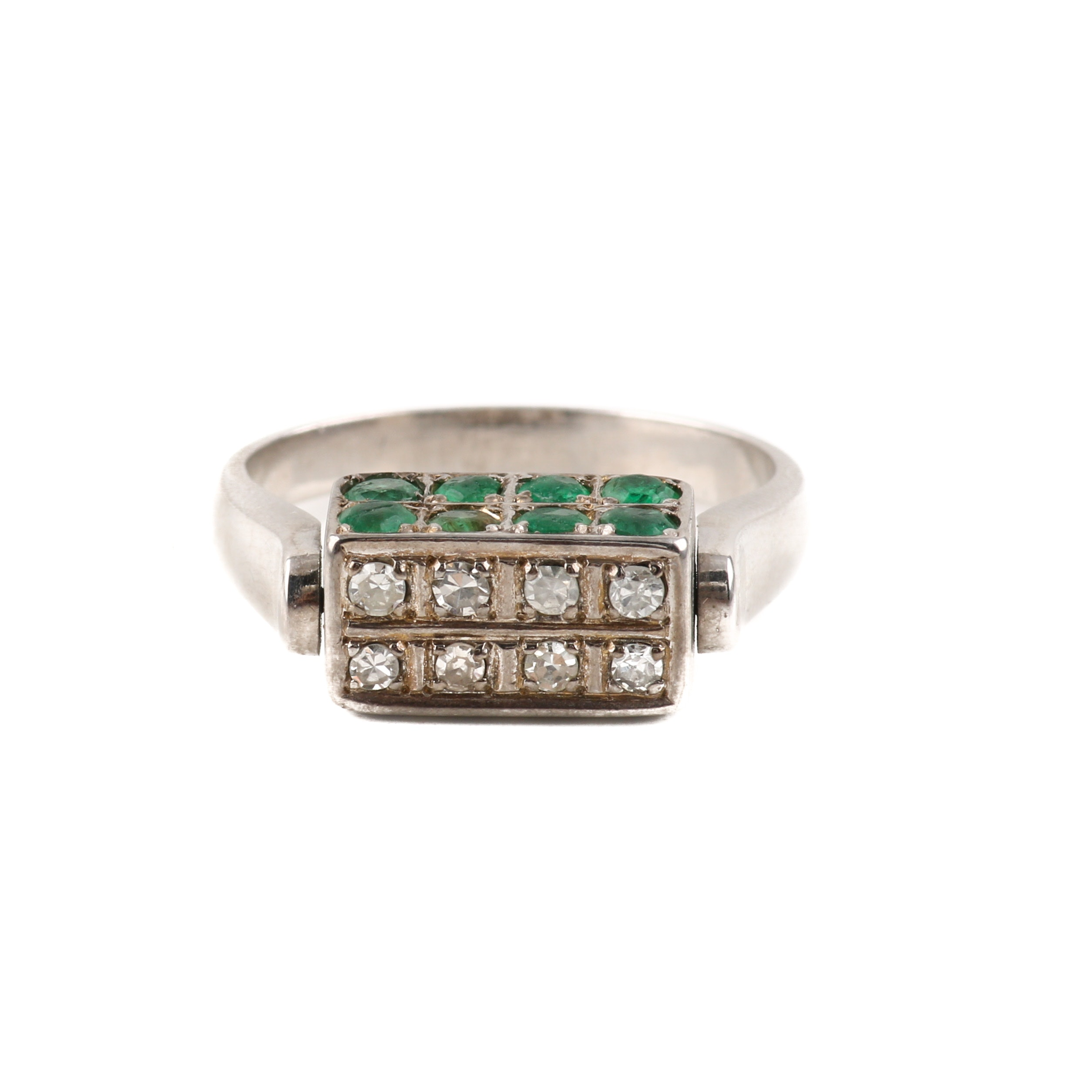 14K White Gold Diamond, 1.10 CTW Emerald, and 1.40 CTW Sapphire Spinner Ring