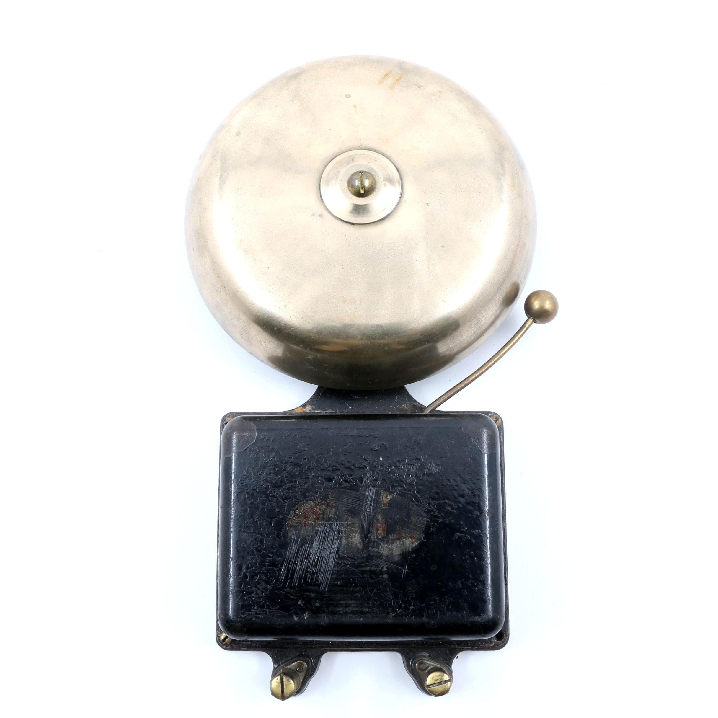 Large Early 20th Century Faraday Cast Brass Wall Mount Fire Alarm Bell