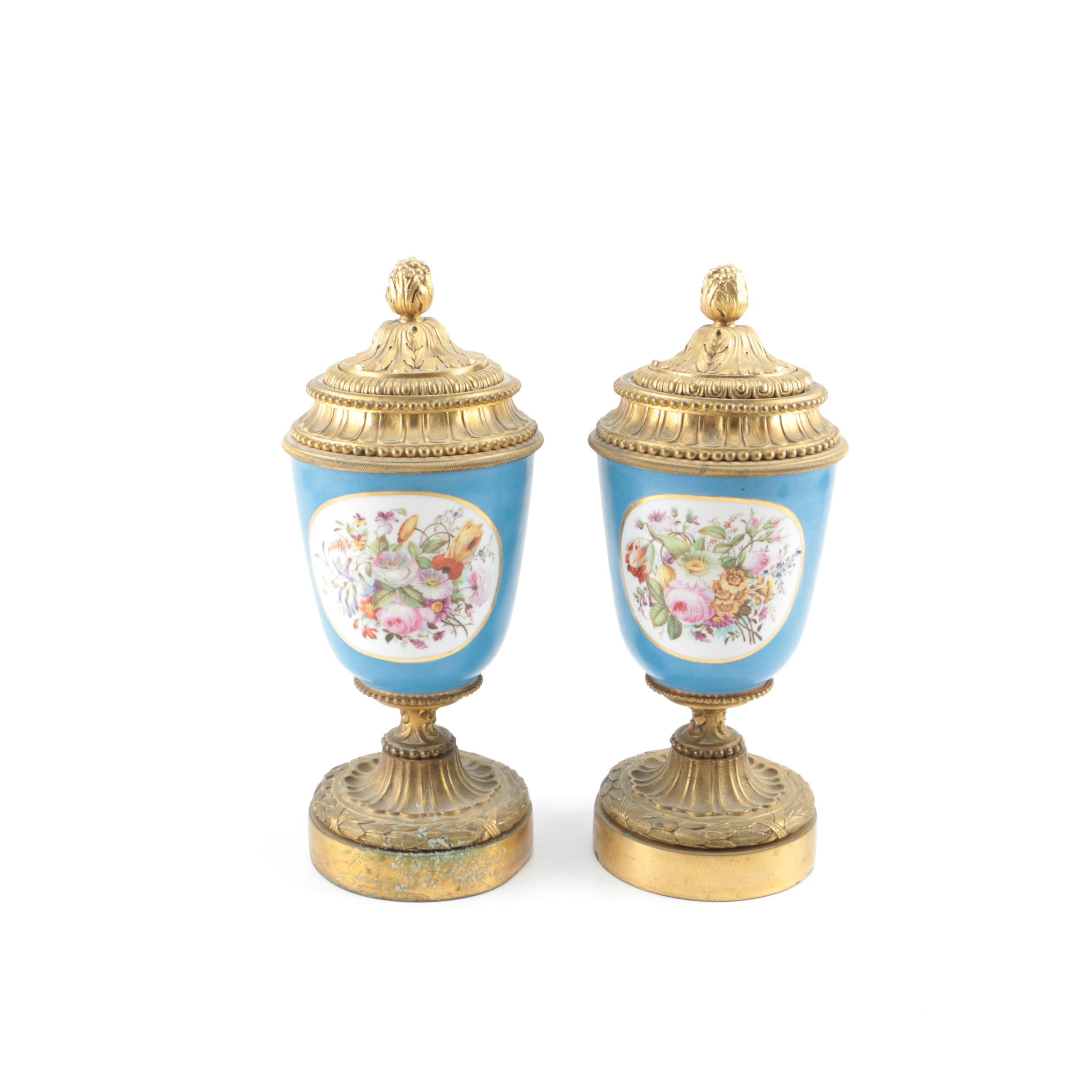 Sèvres Style Ormalu-Mounted Lidded Candle Holders