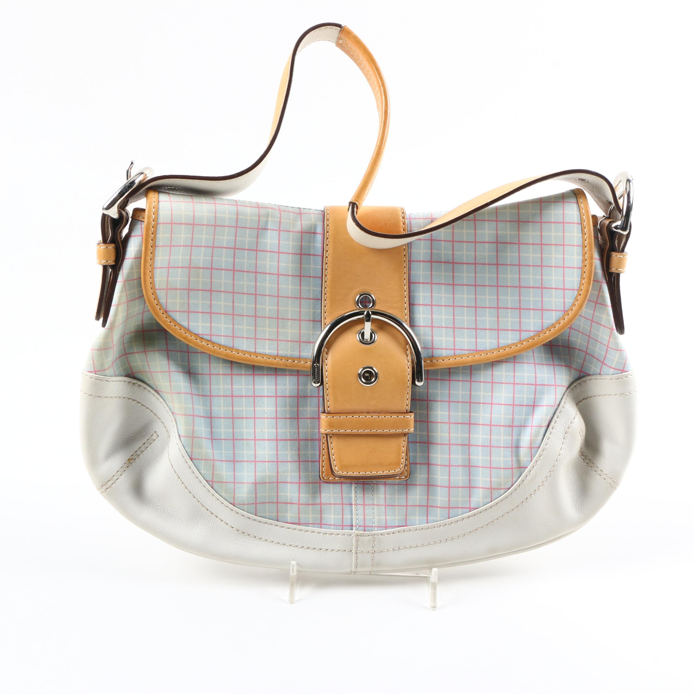 Coach Plaid Canvas and Leather Bag