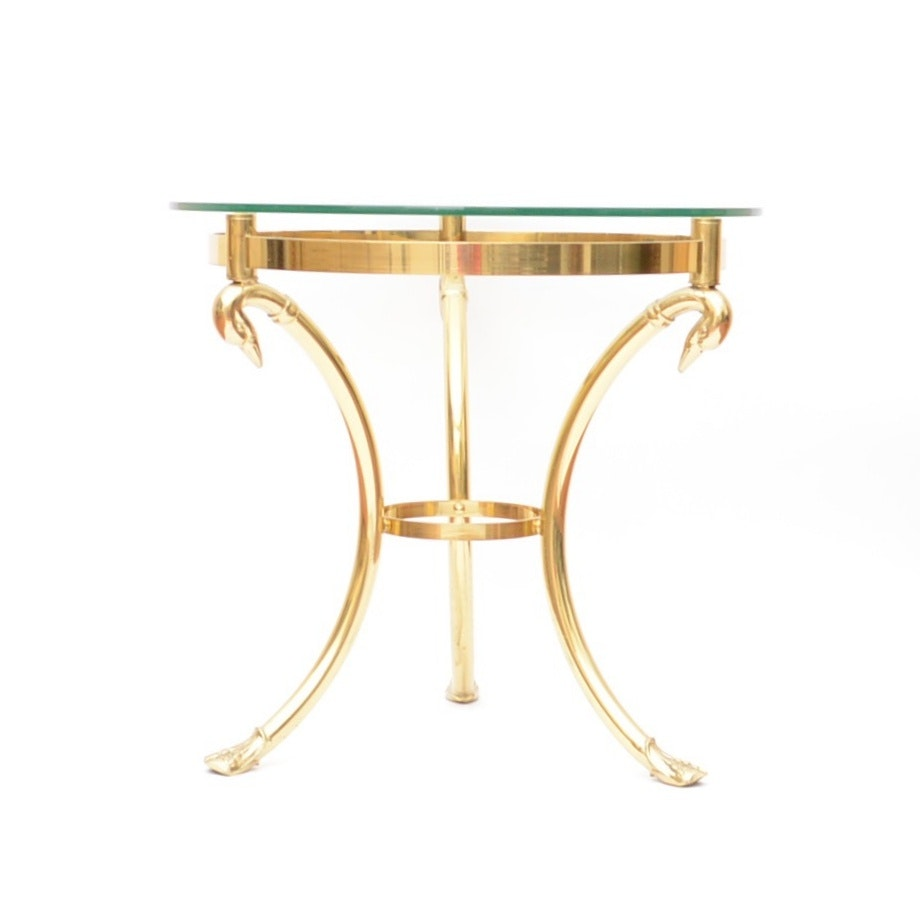 Italian Round Glass-Top Side Table