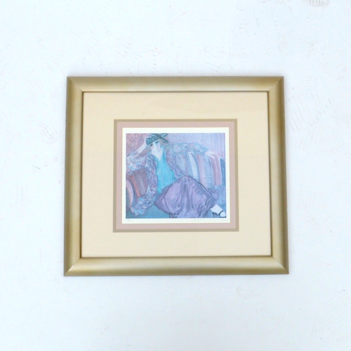 """Barbara A. Wood """"Pensive Woman"""" Signed and Numbered Offset Lithograph"""