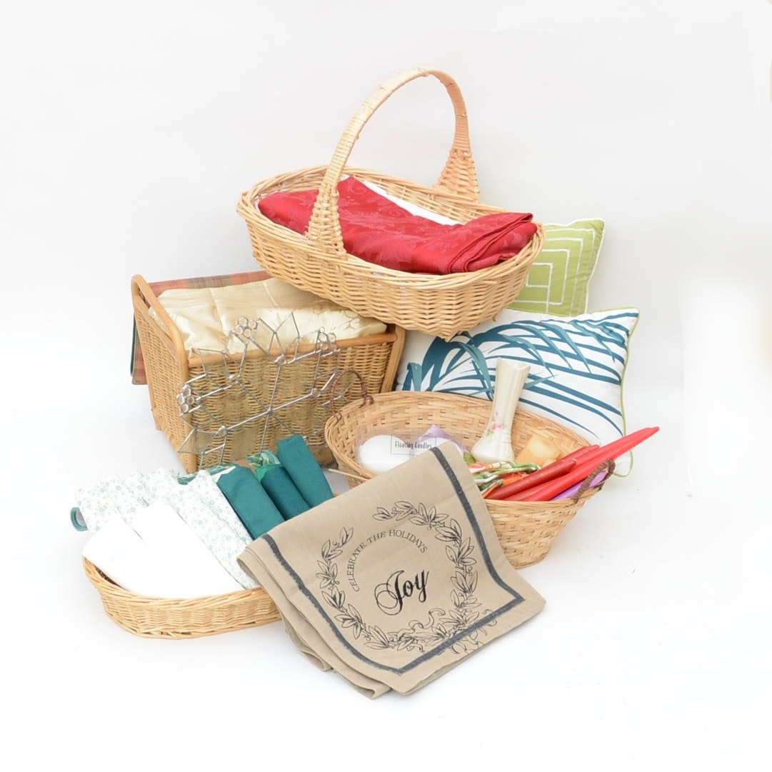 Linens, Baskets and Candles