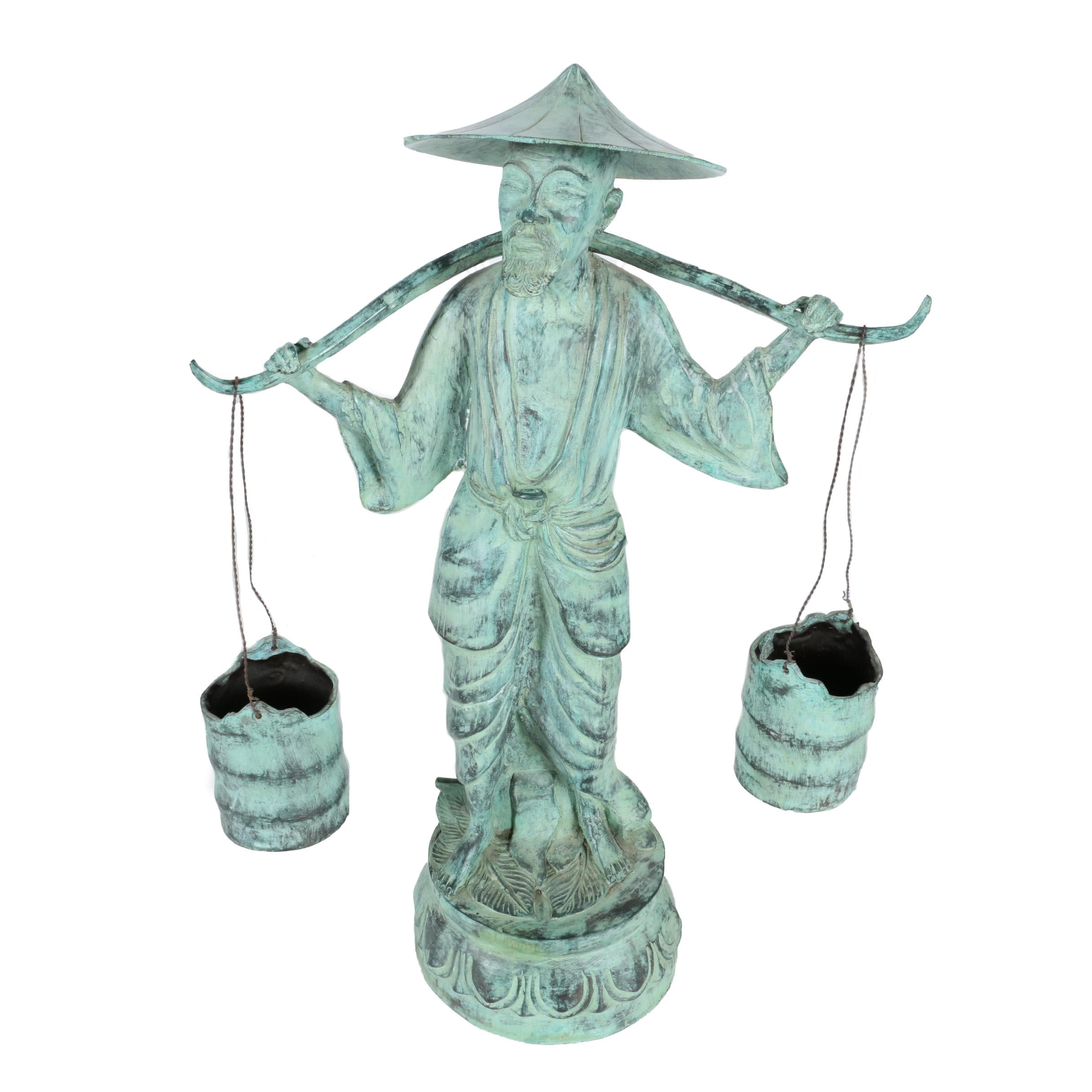 Brass Figurine of an Asian Man Carrying Buckets