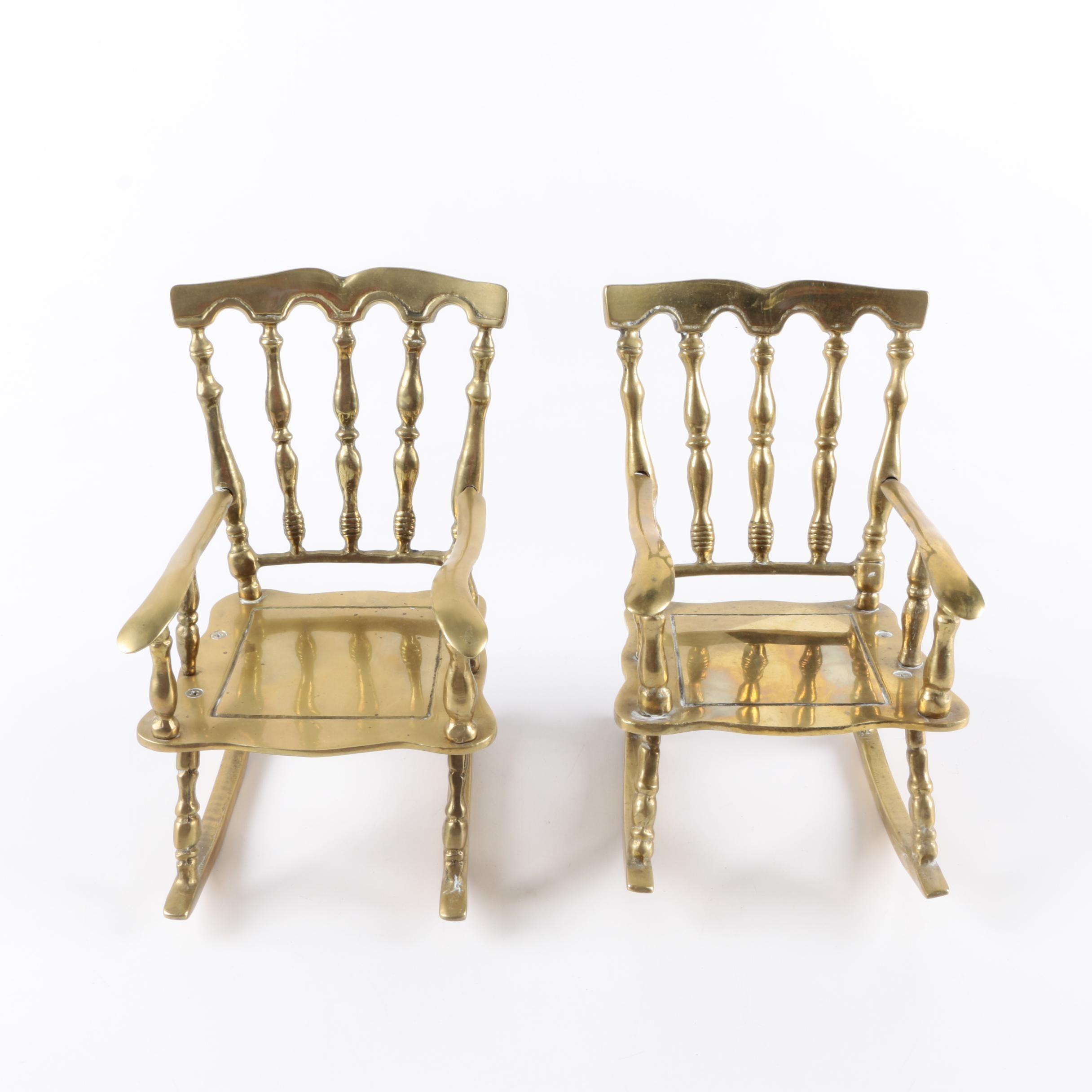 Miniature Brass Rocking Chairs