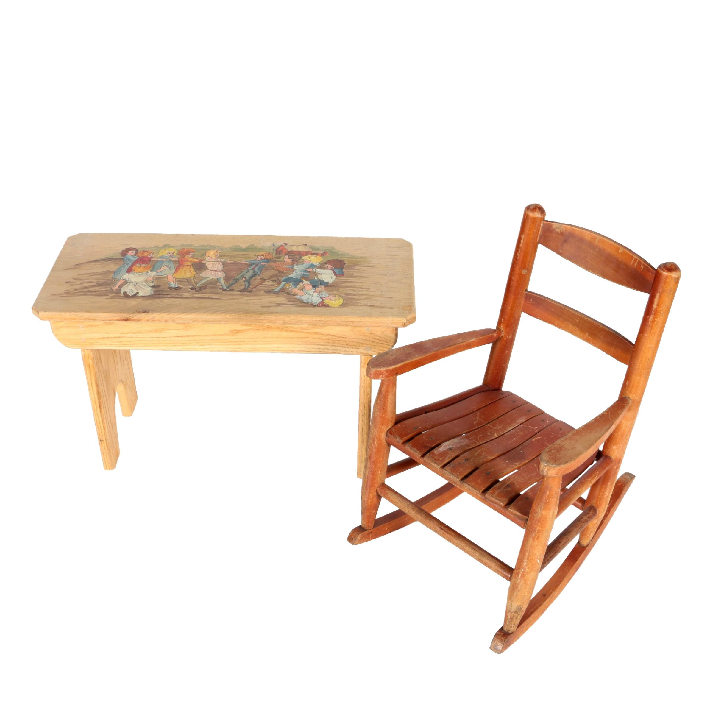 Vintage Child's Rocking Chair and Bench