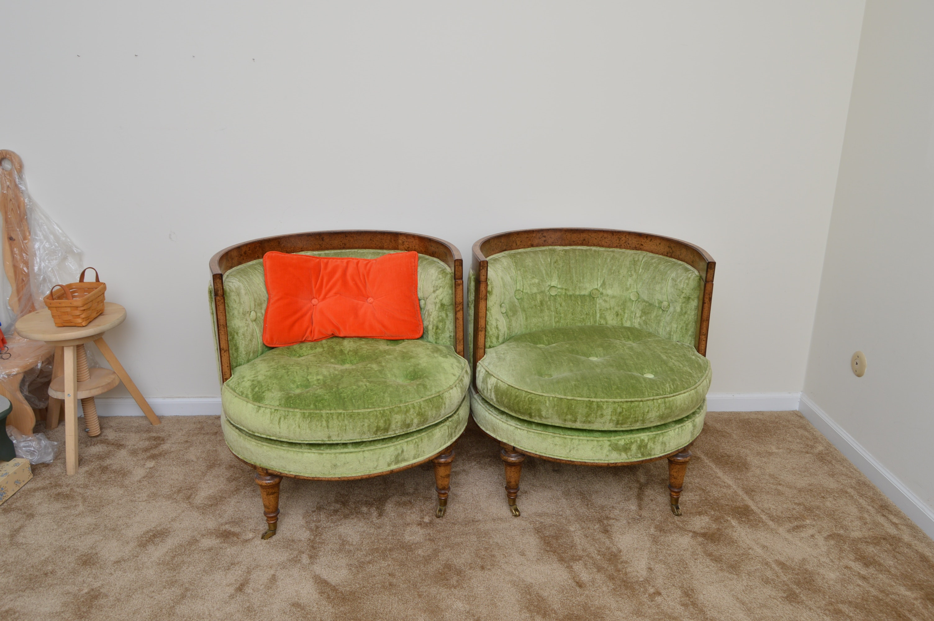 Vintage Mid Century Upholstered Barrel Back Chairs By Oxford, LTD.
