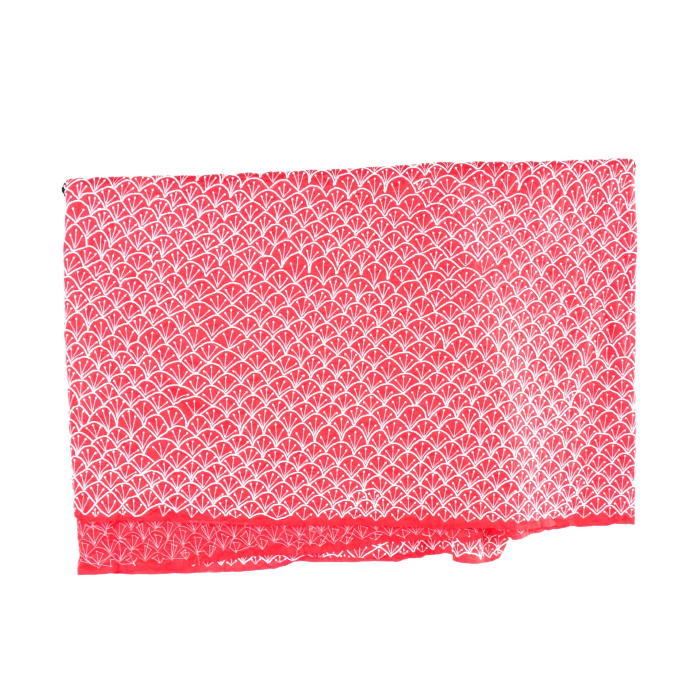 Vintage Beaded Red Silk Fabric