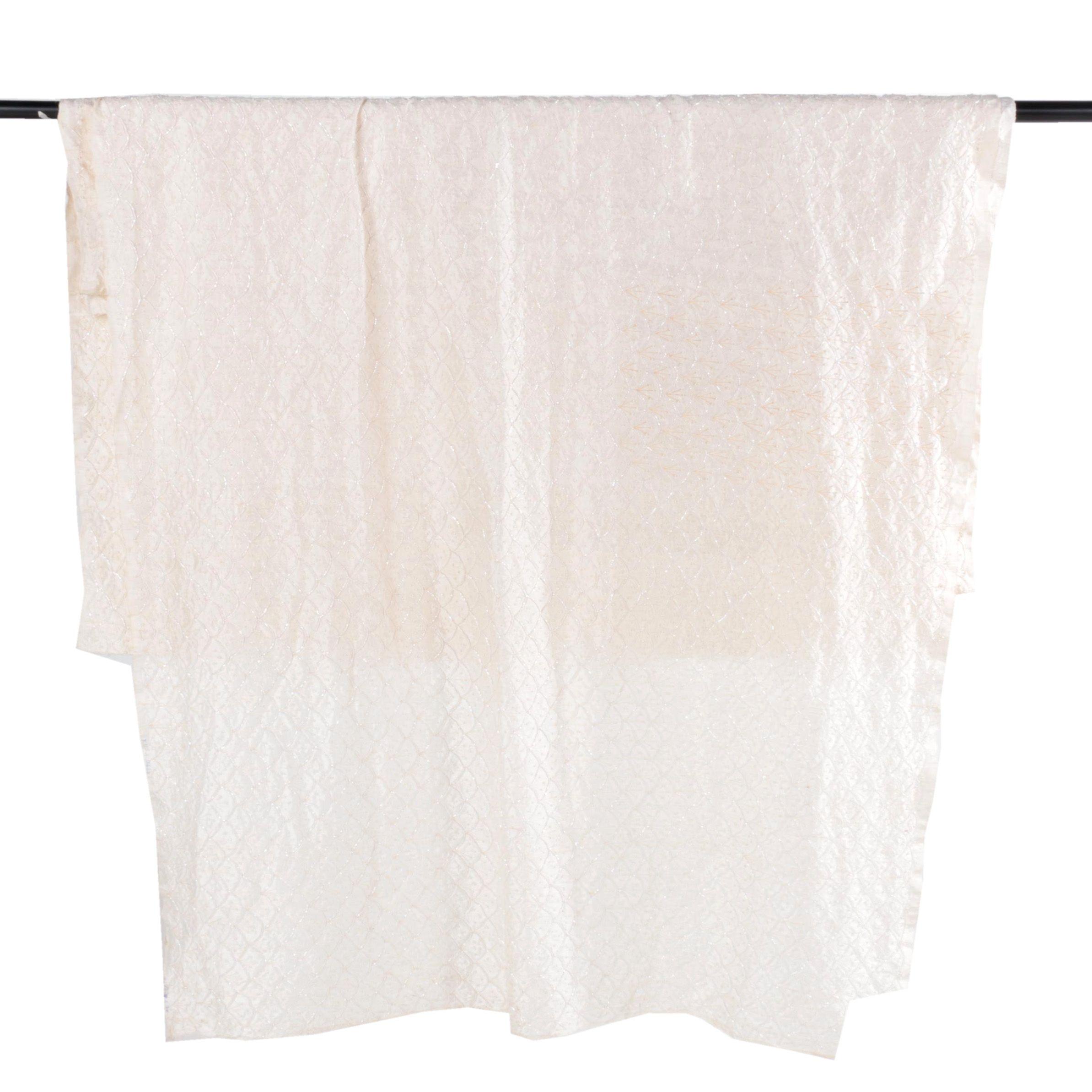 Vintage White Beaded Fabric