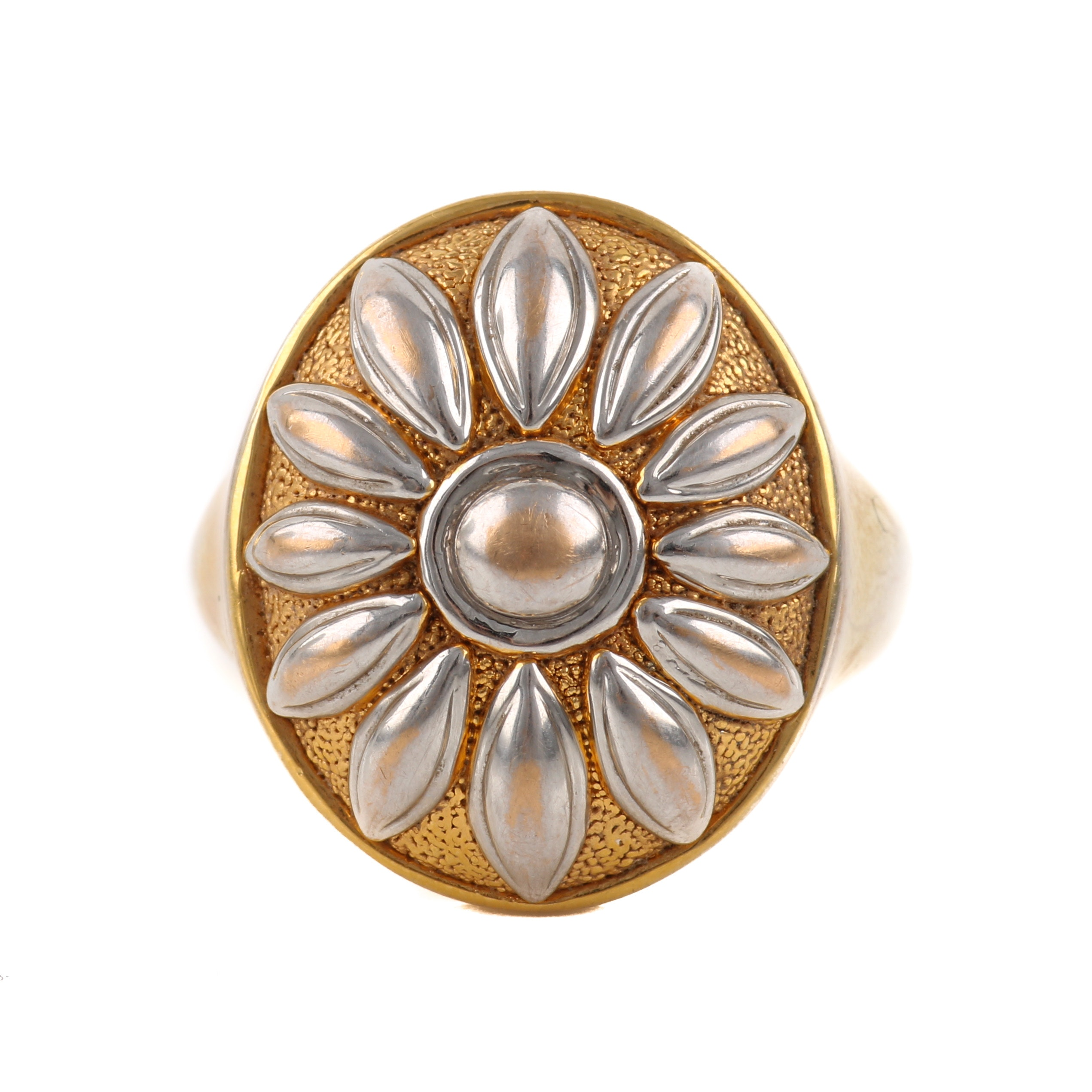 14K White and Yellow Gold Floral Dome Ring