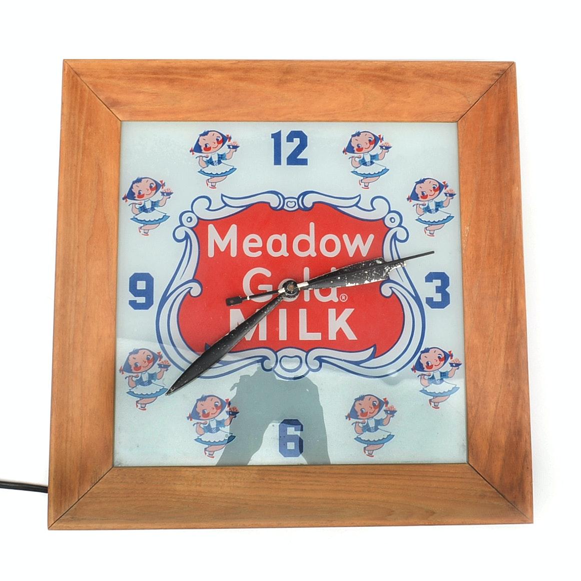 Mid-Century Meadow Gold Milk Clock